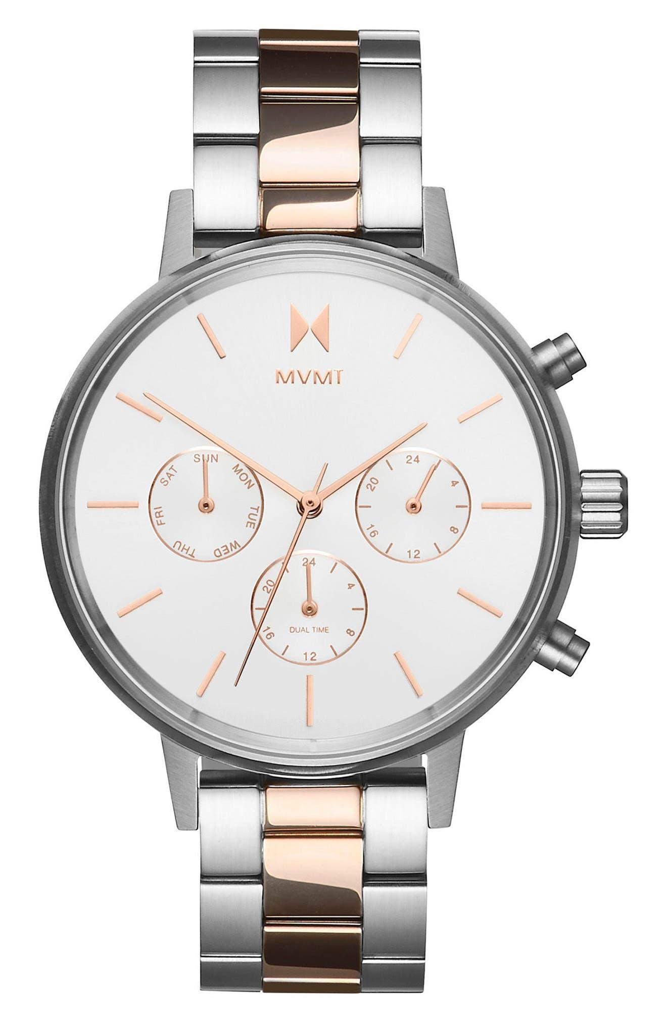 Nova Chronograph Bracelet Watch, 38mm,                         Main,                         color, SILVER/ WHITE/ ROSE GOLD