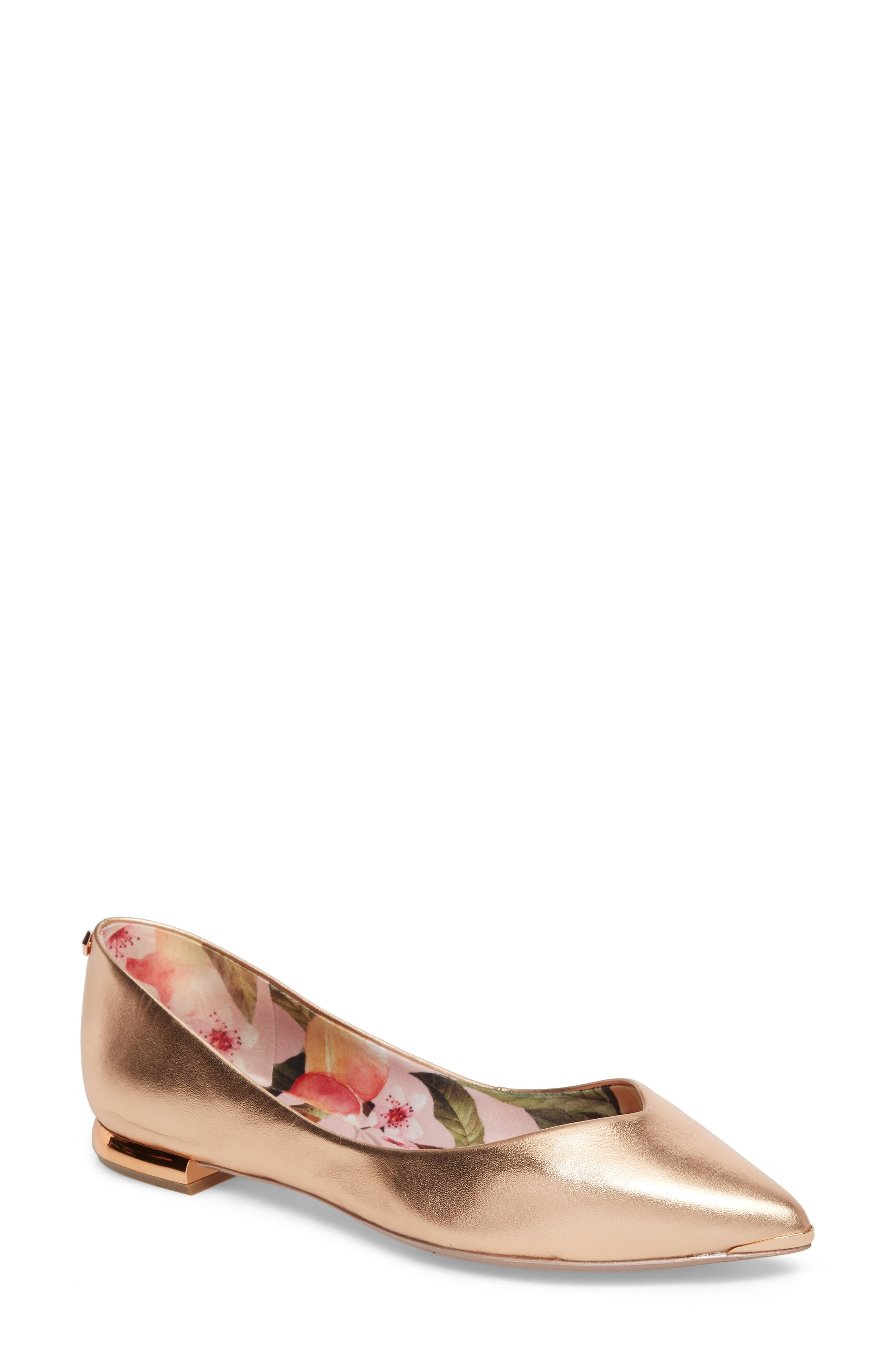 Grasce Flat,                             Main thumbnail 1, color,                             ROSE GOLD LEATHER