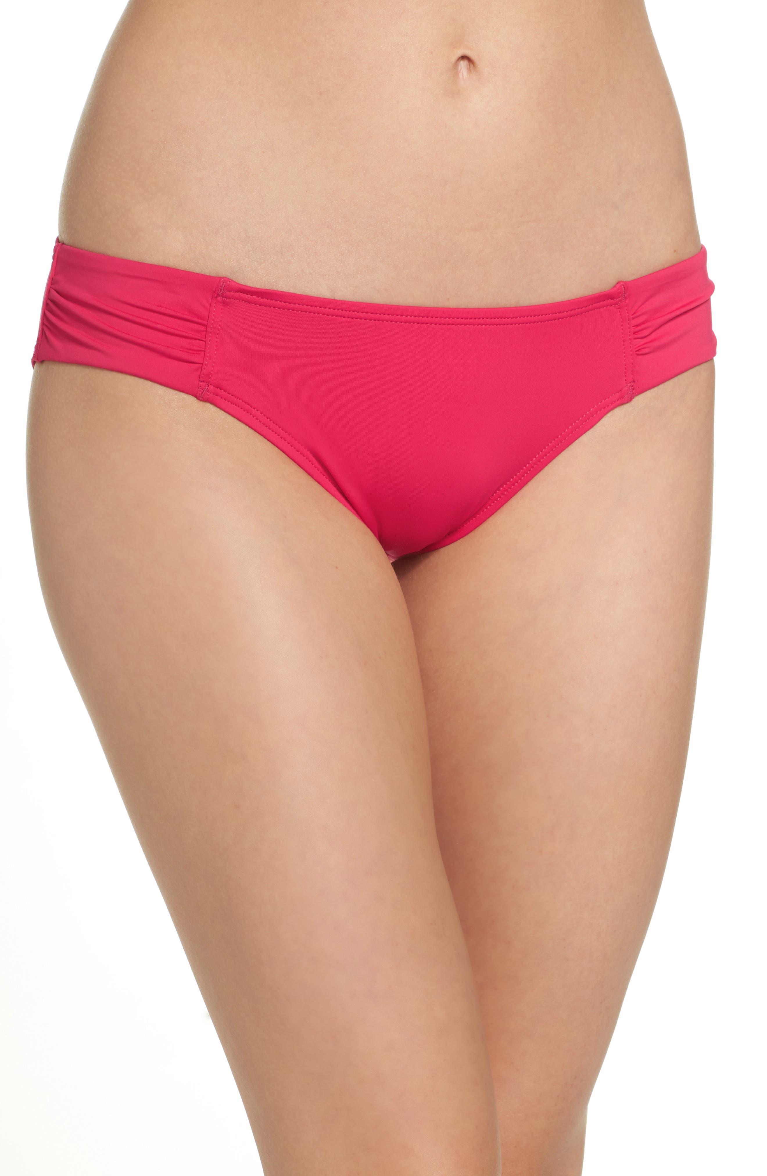 Side Shirred Hipster Bikini Bottoms,                         Main,                         color, CERISE