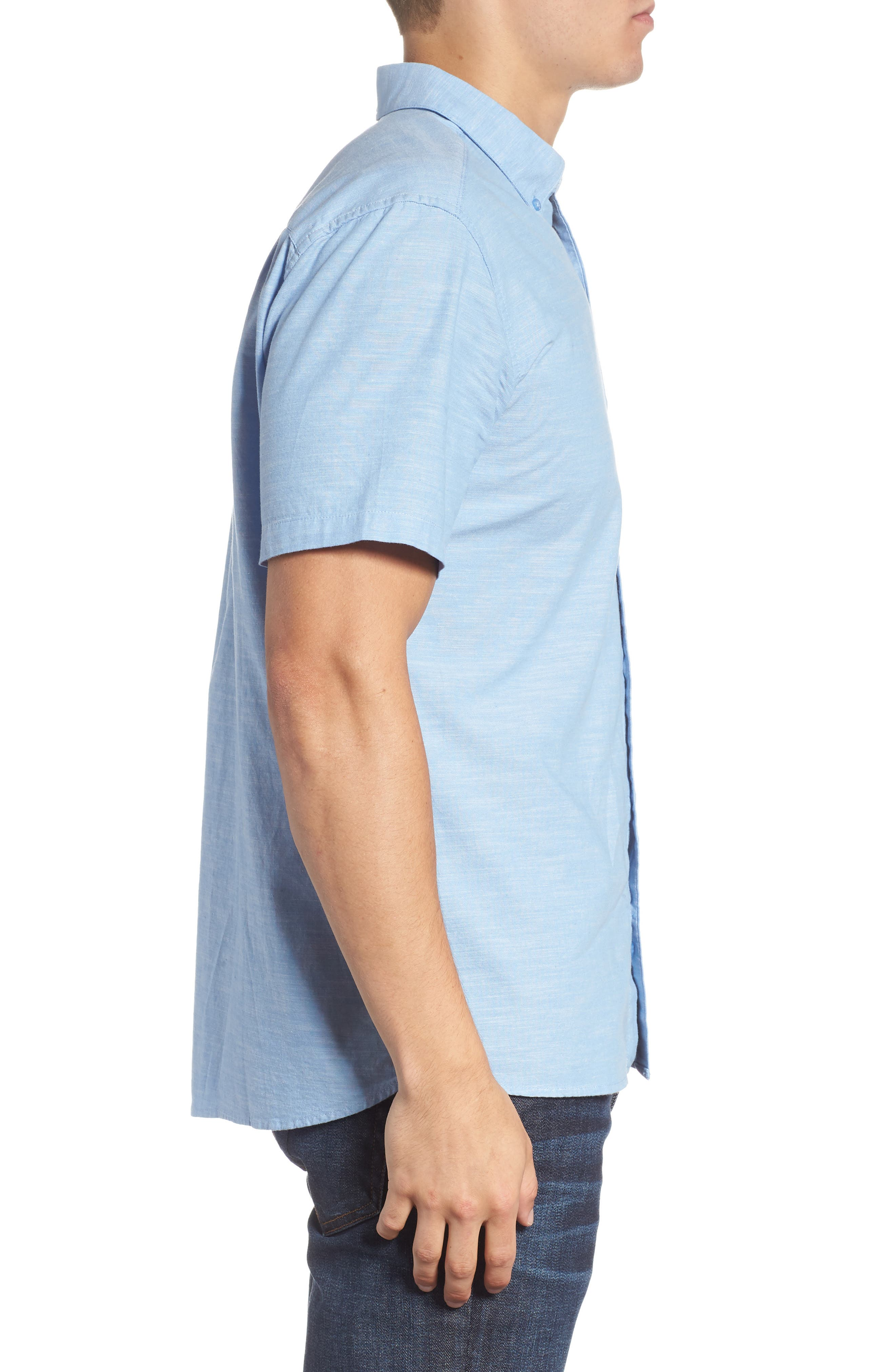 One & Only 2.0 Woven Shirt,                             Alternate thumbnail 3, color,                             BLUE OX