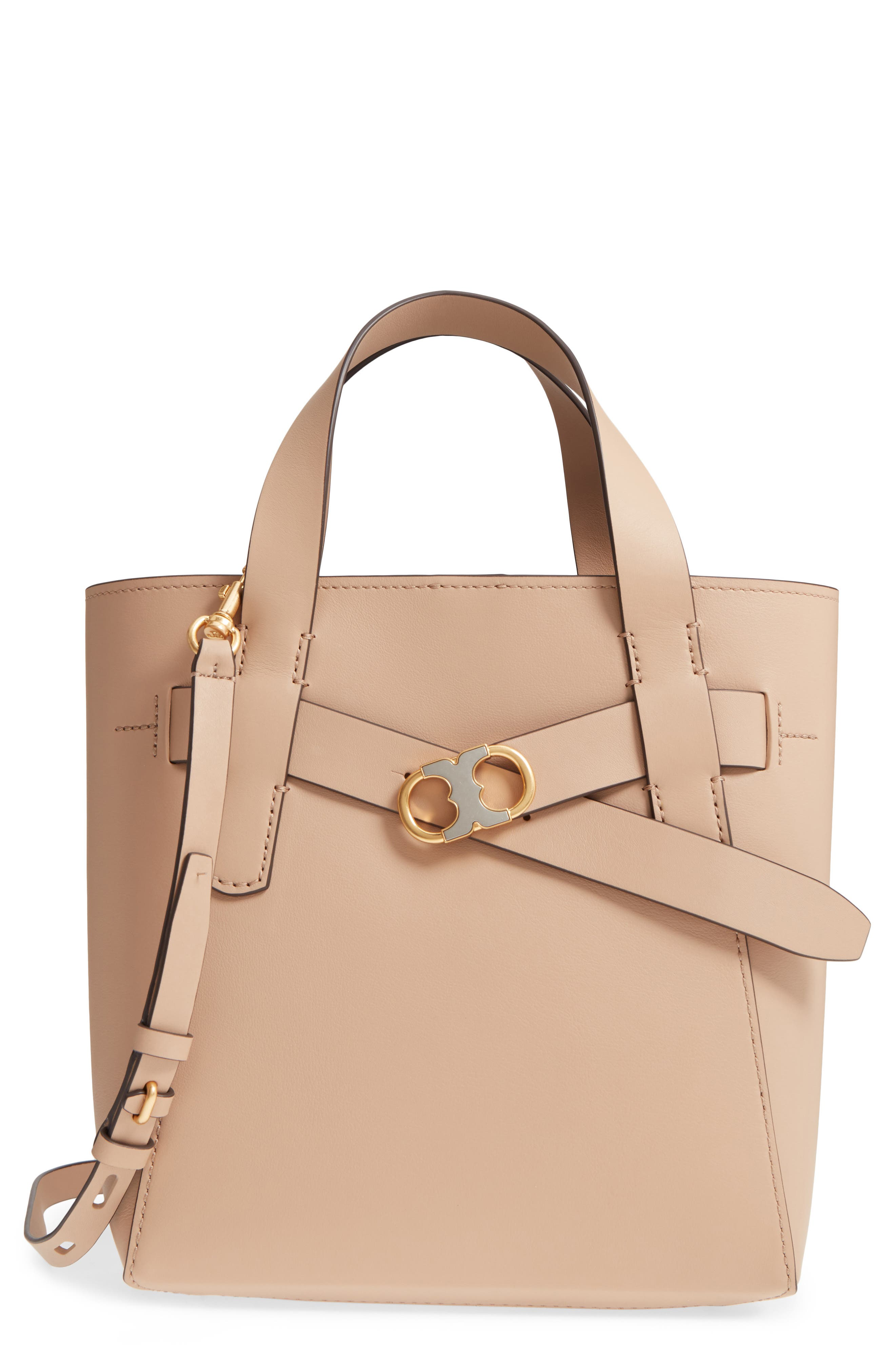 Small Gemini Link Leather Tote,                             Main thumbnail 1, color,