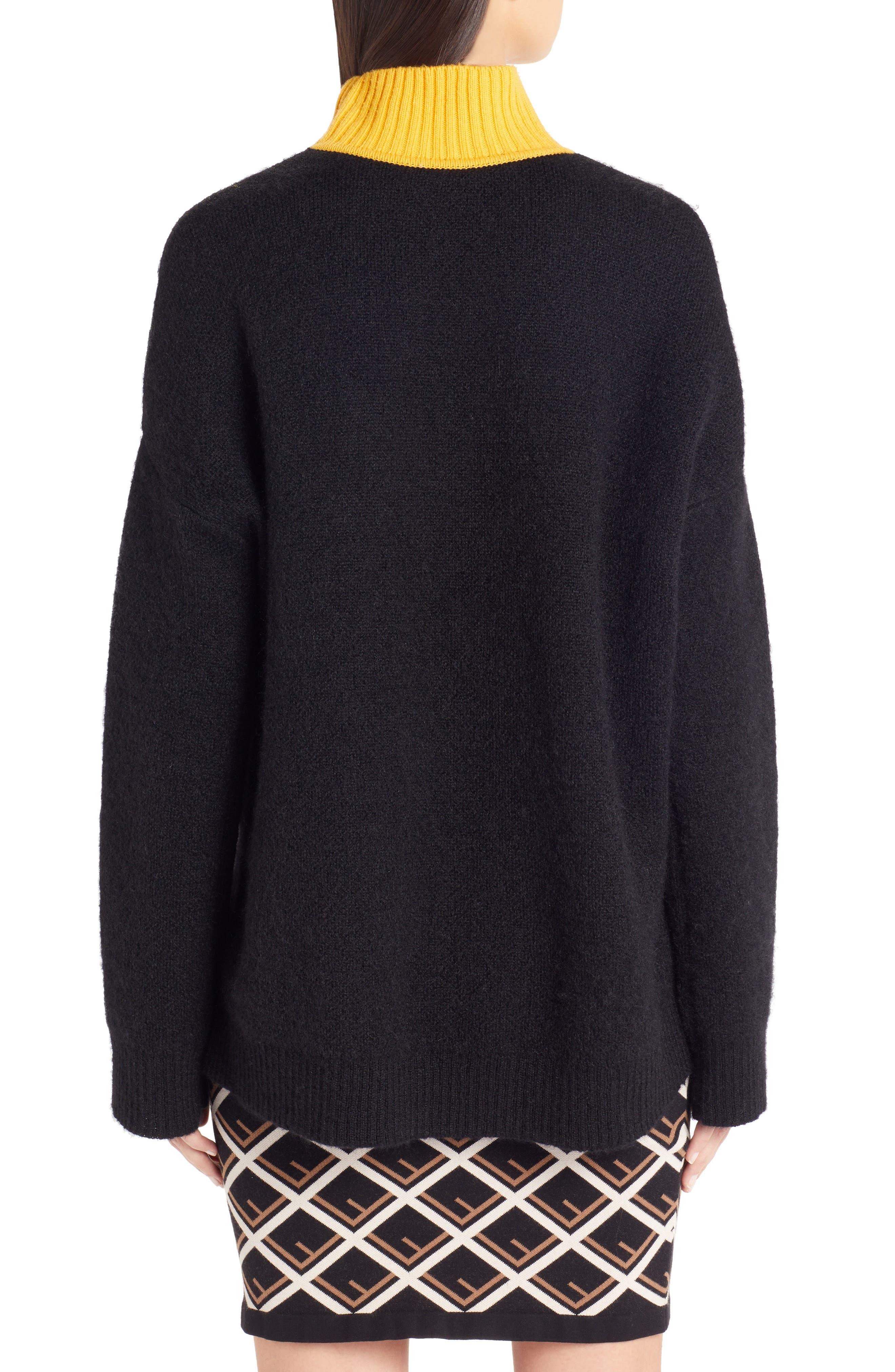 Sport Logo Wool & Cashmere Turtleneck Sweater,                             Alternate thumbnail 2, color,                             BLACK