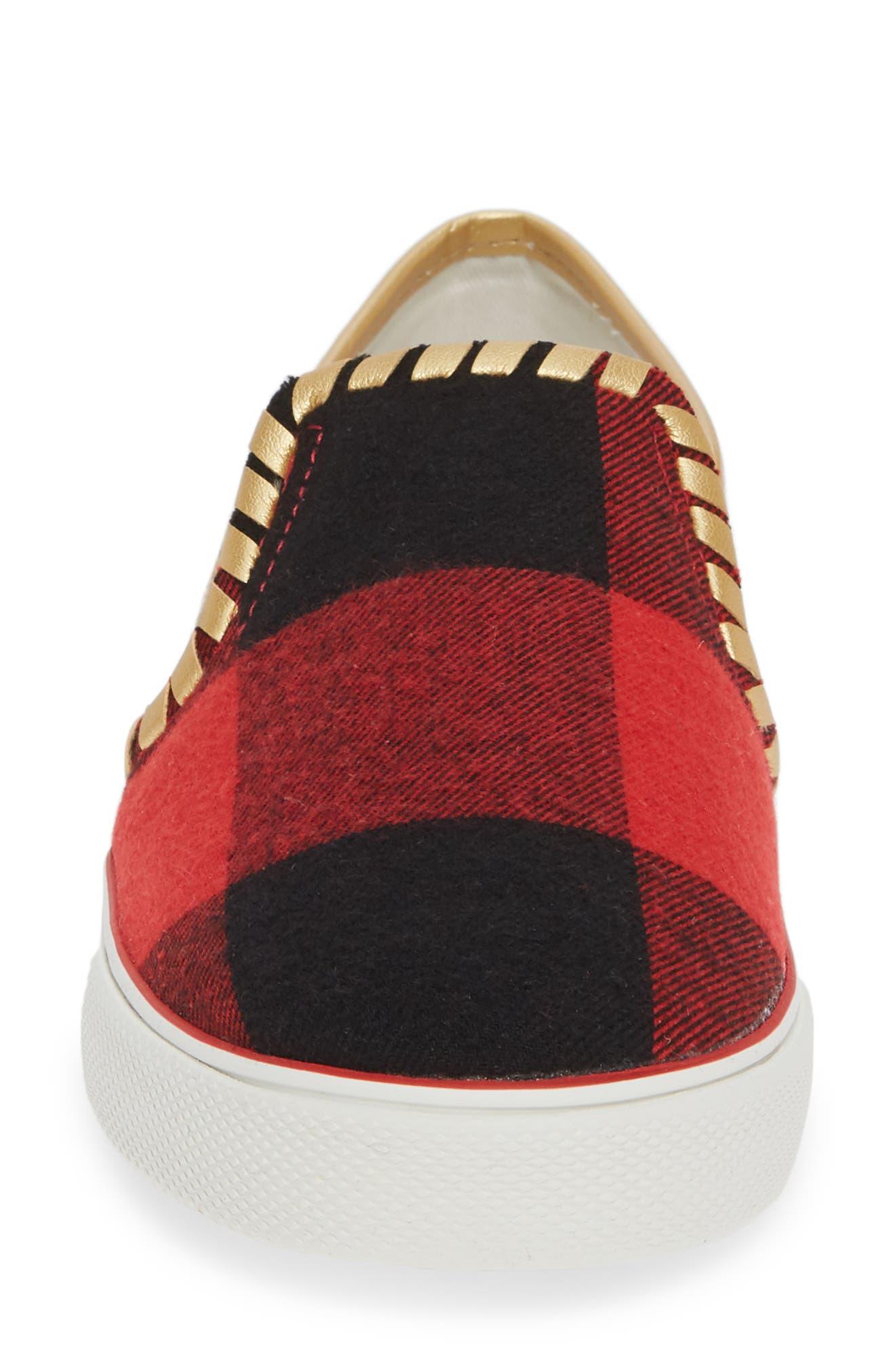 Brynne Slip-On Sneaker,                             Alternate thumbnail 4, color,                             RED/ BLACK FABRIC