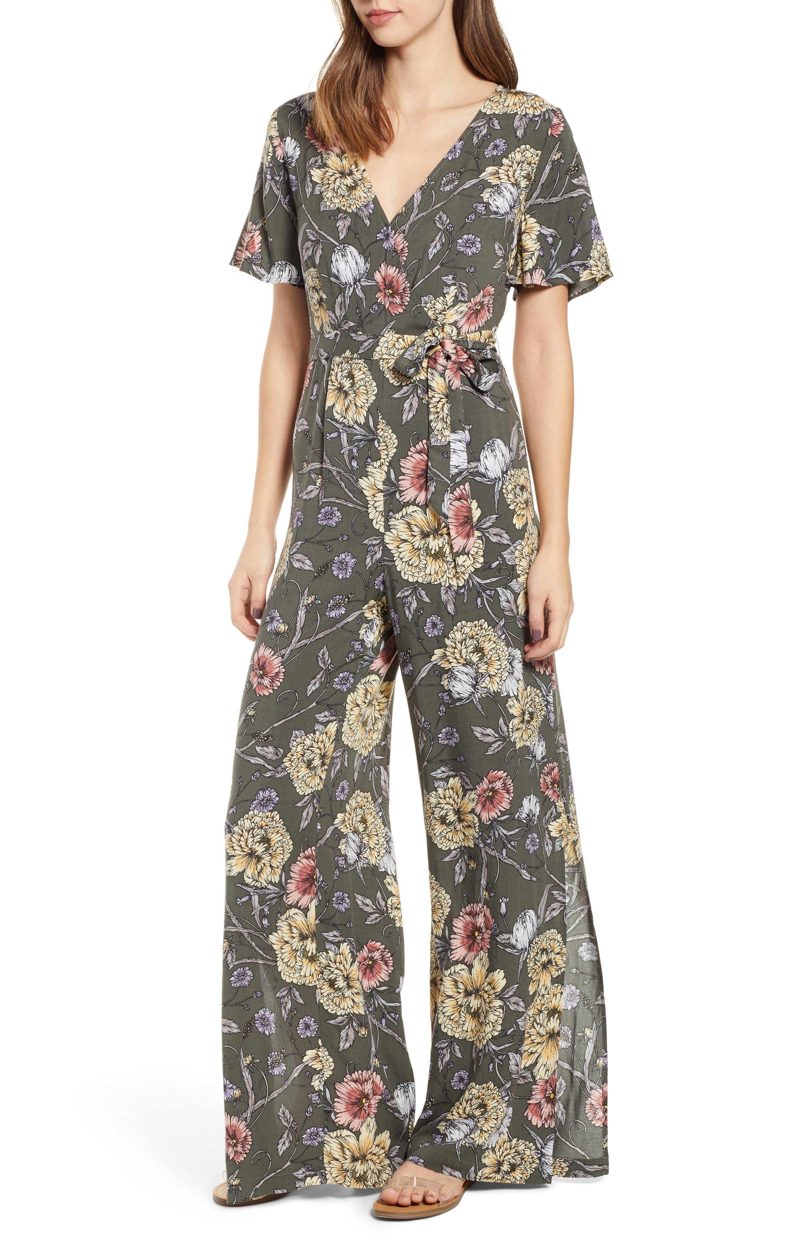 Floral Print Tie Waist Jumpsuit, Main, color, OLIVE FLORAL