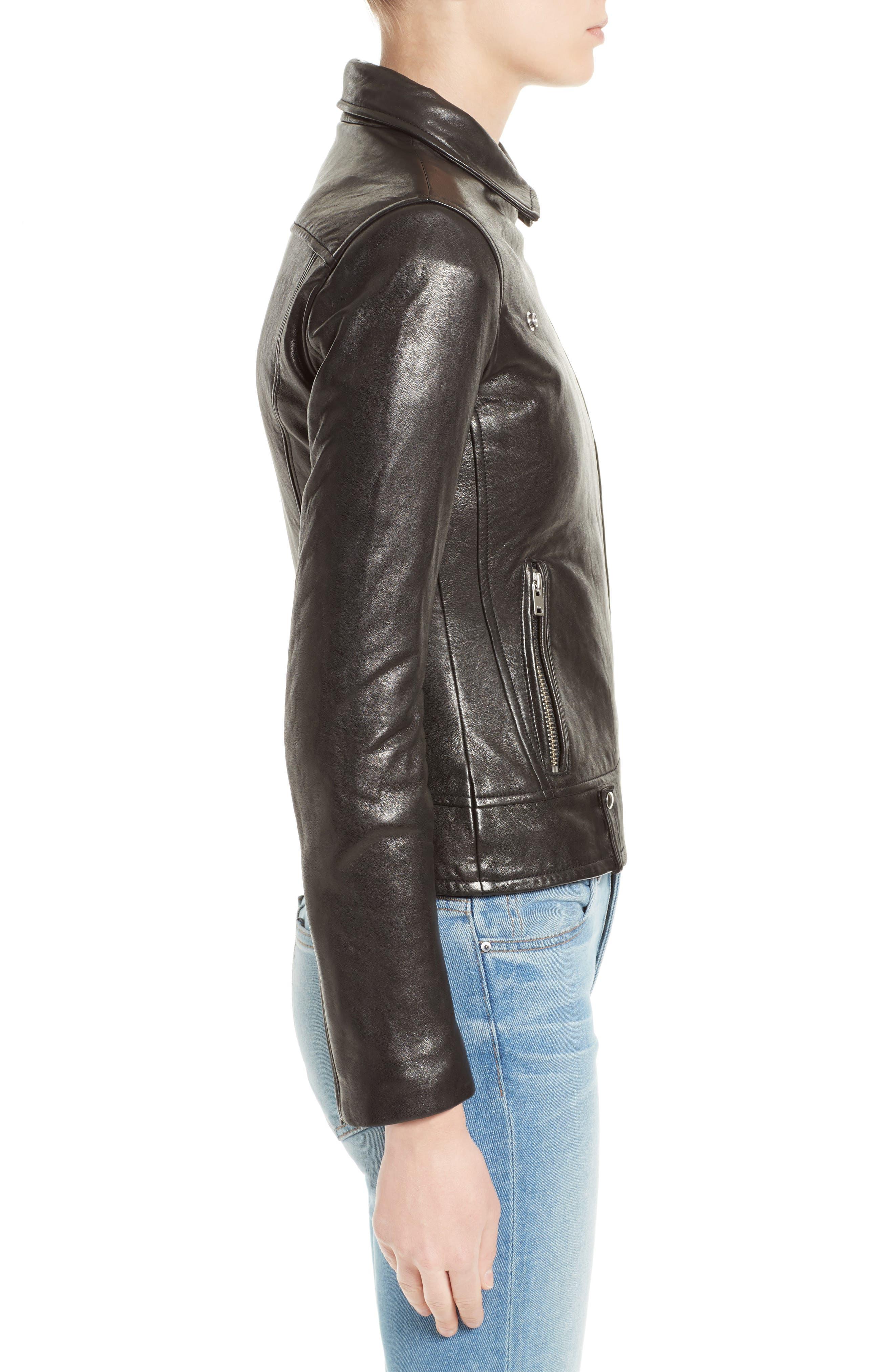Jamie Leather Moto Jacket,                             Alternate thumbnail 3, color,                             001