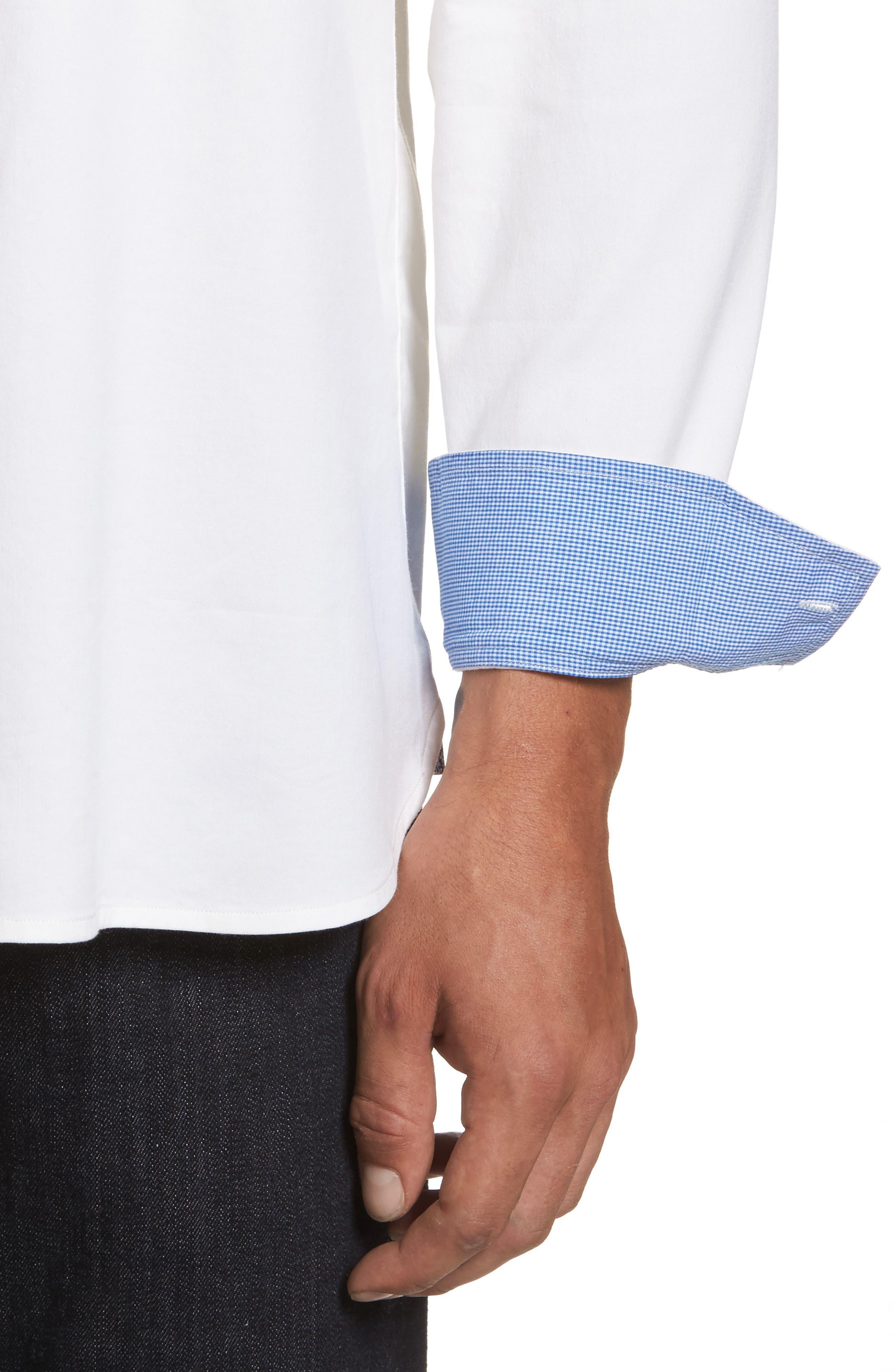 Oasis Twill Sport Shirt,                             Alternate thumbnail 4, color,                             WHITE