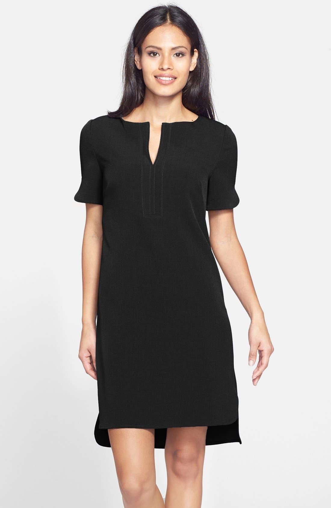 Split Front Shirttail Shift Dress,                             Main thumbnail 1, color,                             001