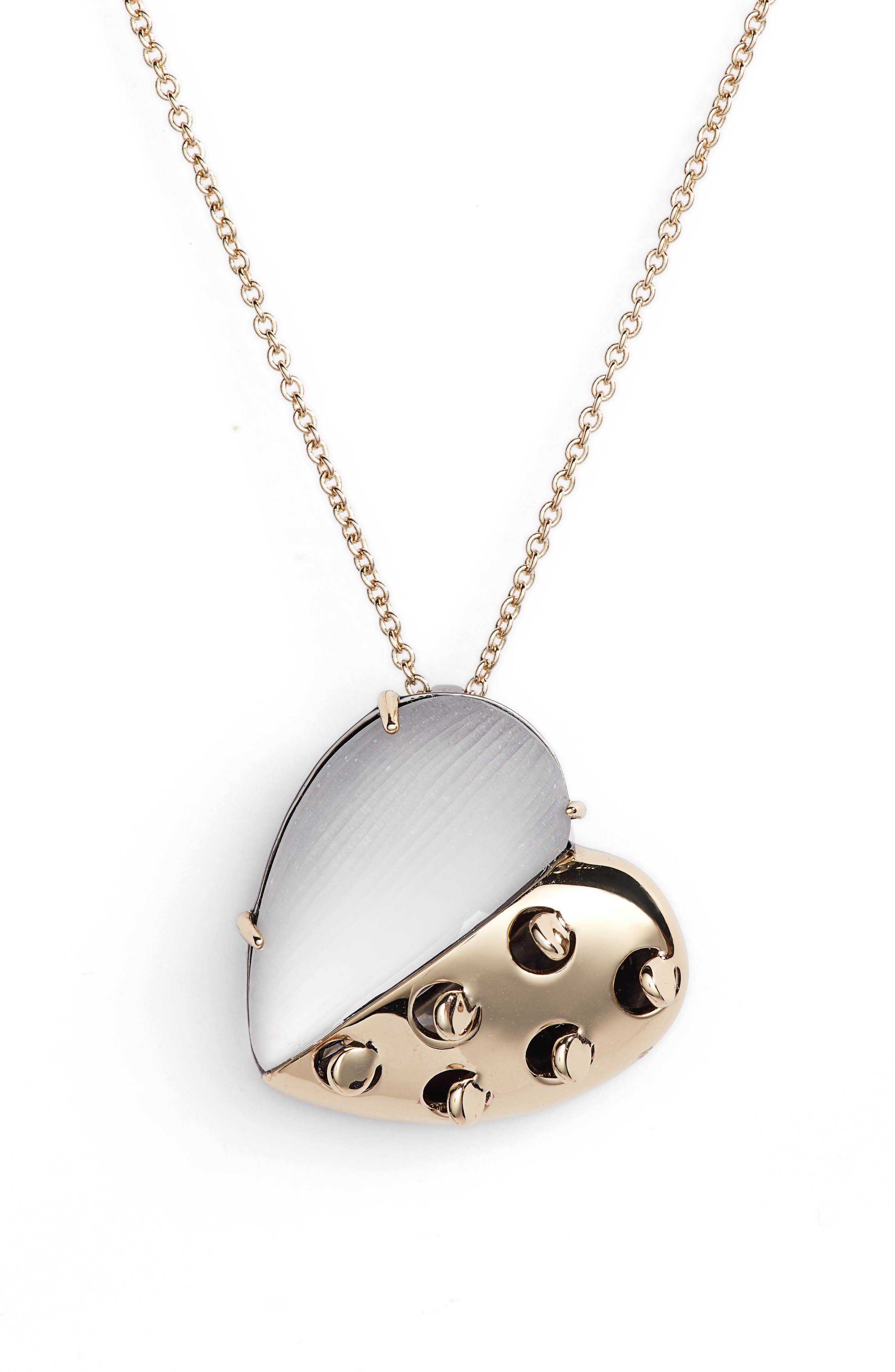 Small Lucite<sup>®</sup> Grater Heart Pendant Necklace,                         Main,                         color, GREY