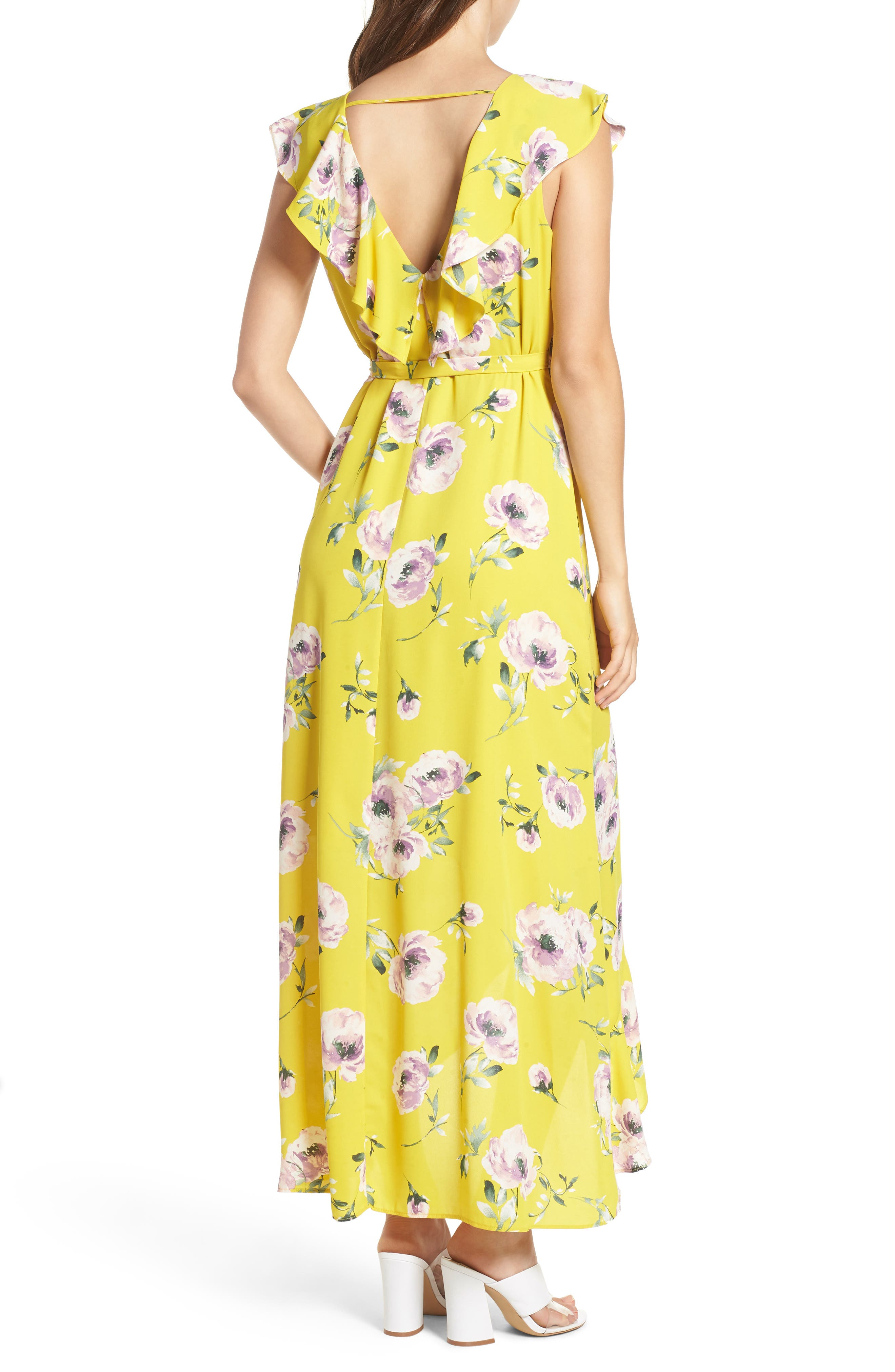 Ruffle Wrap Maxi Dress,                             Alternate thumbnail 2, color,                             YELLOW TEA BLOOM FLORAL