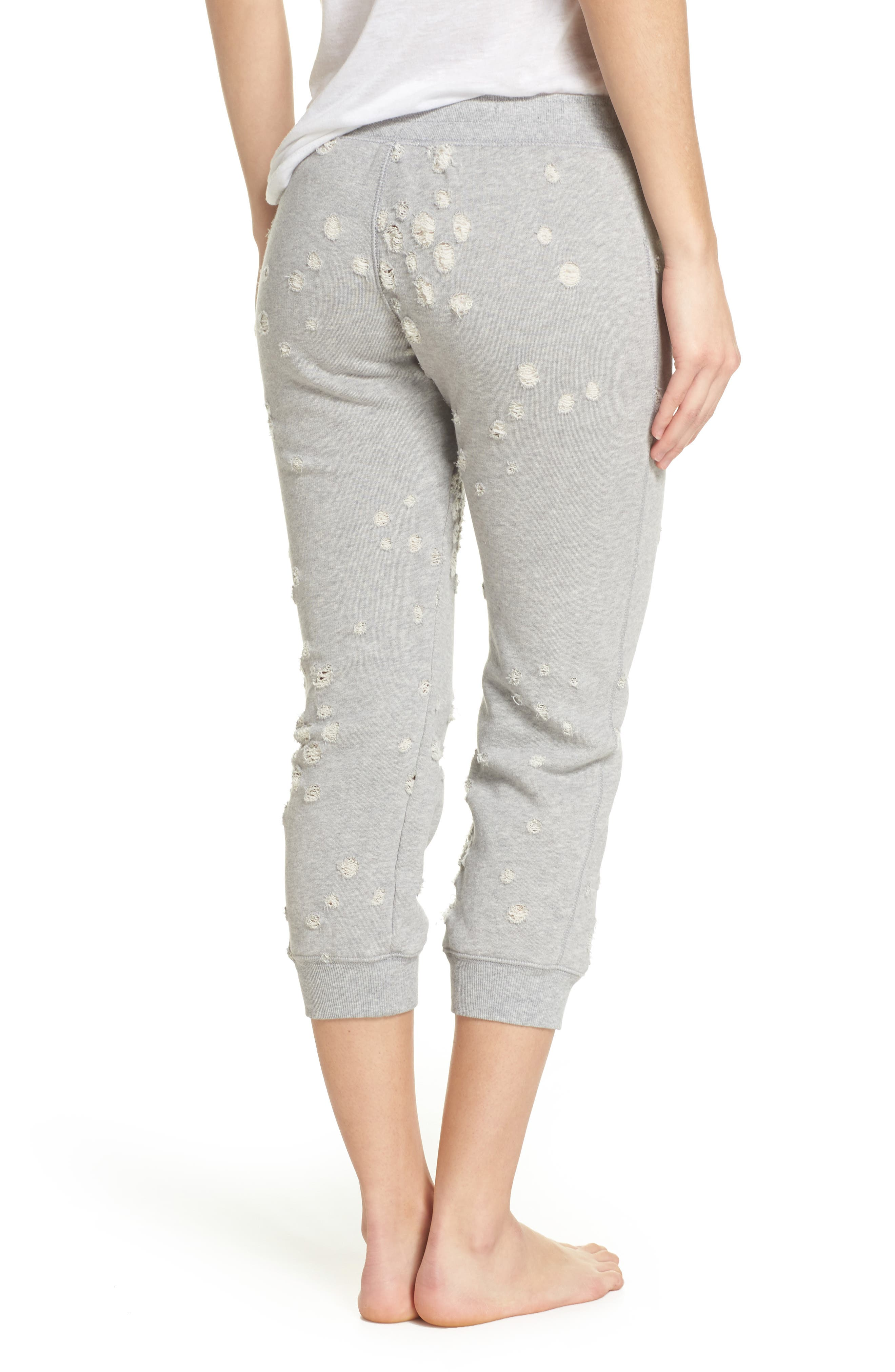 Distressed Crop Lounge Pants,                             Alternate thumbnail 2, color,                             HEATHER GREY