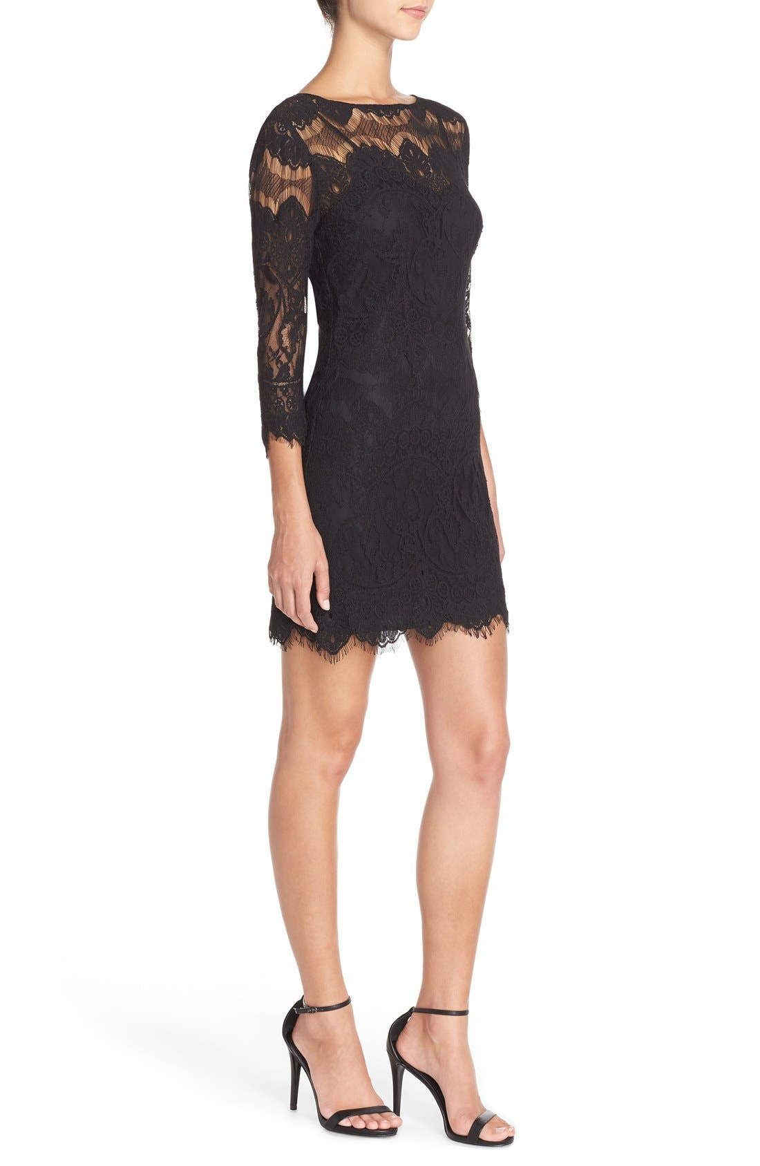 'Natalia' Lace Sheath Dress,                             Alternate thumbnail 5, color,                             001