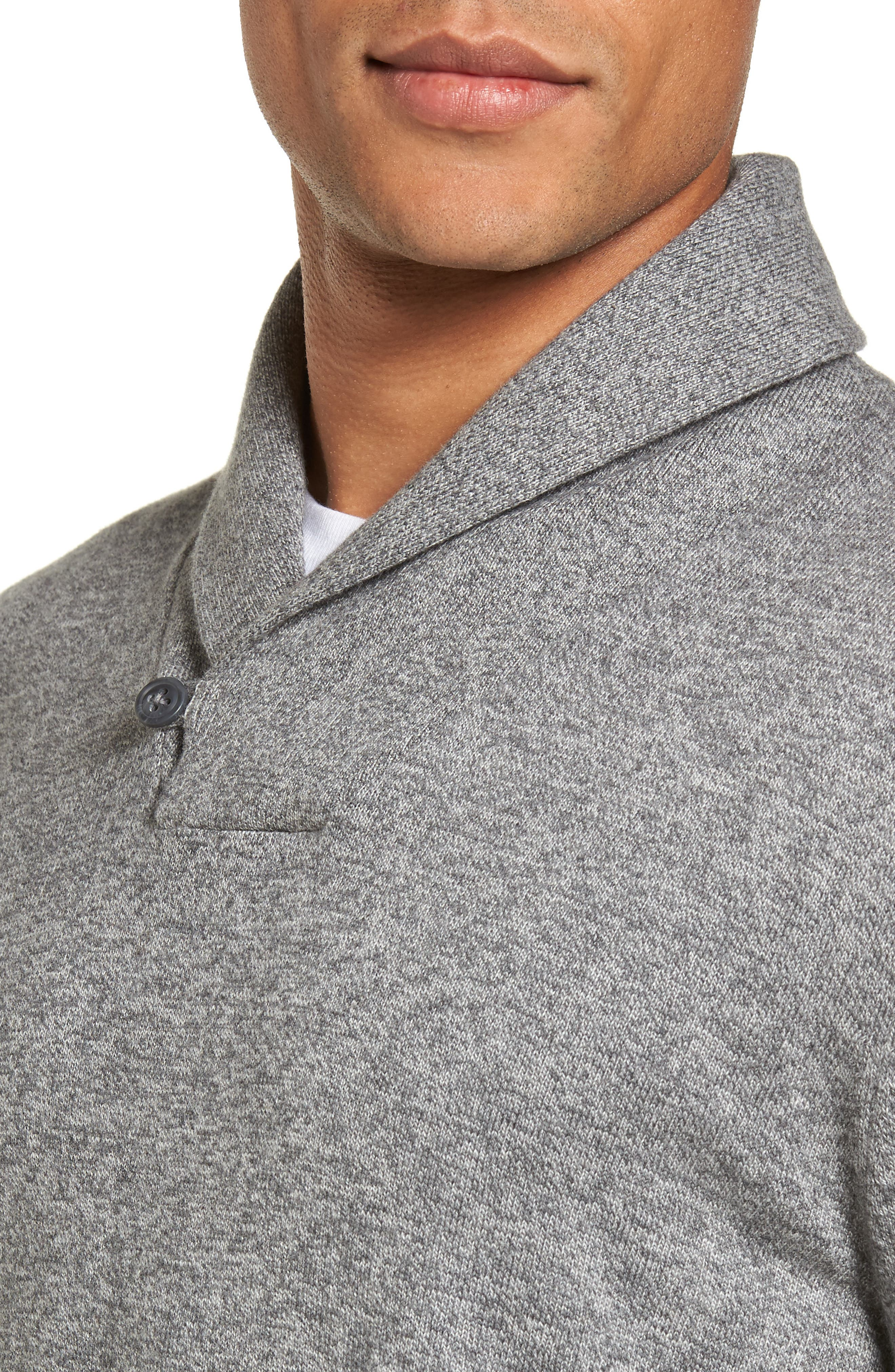Cotton & Cashmere Shawl Collar Sweater,                             Alternate thumbnail 4, color,                             030