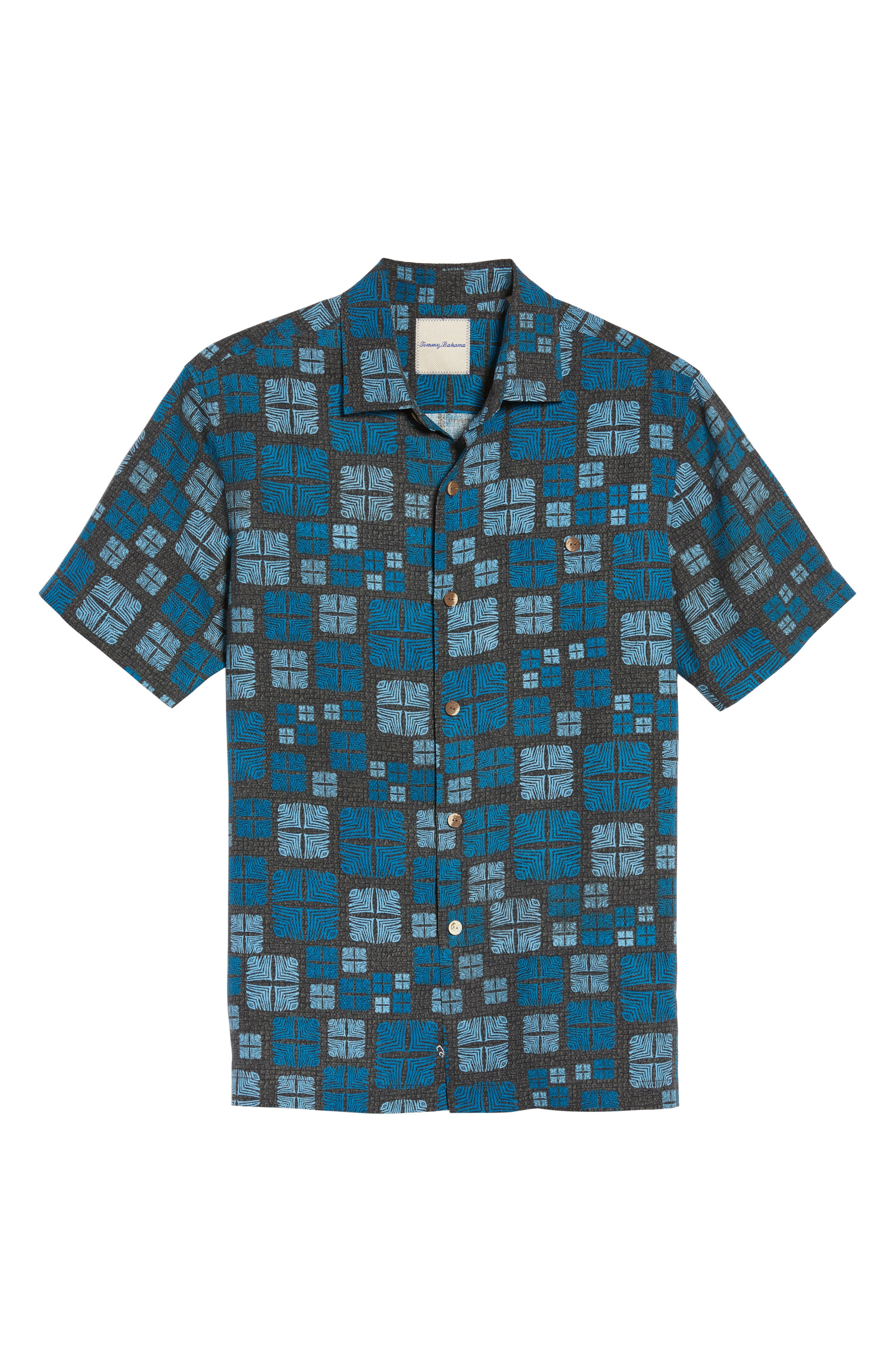 Isla Tiles Standard Fit Silk Camp Shirt,                             Alternate thumbnail 6, color,                             001