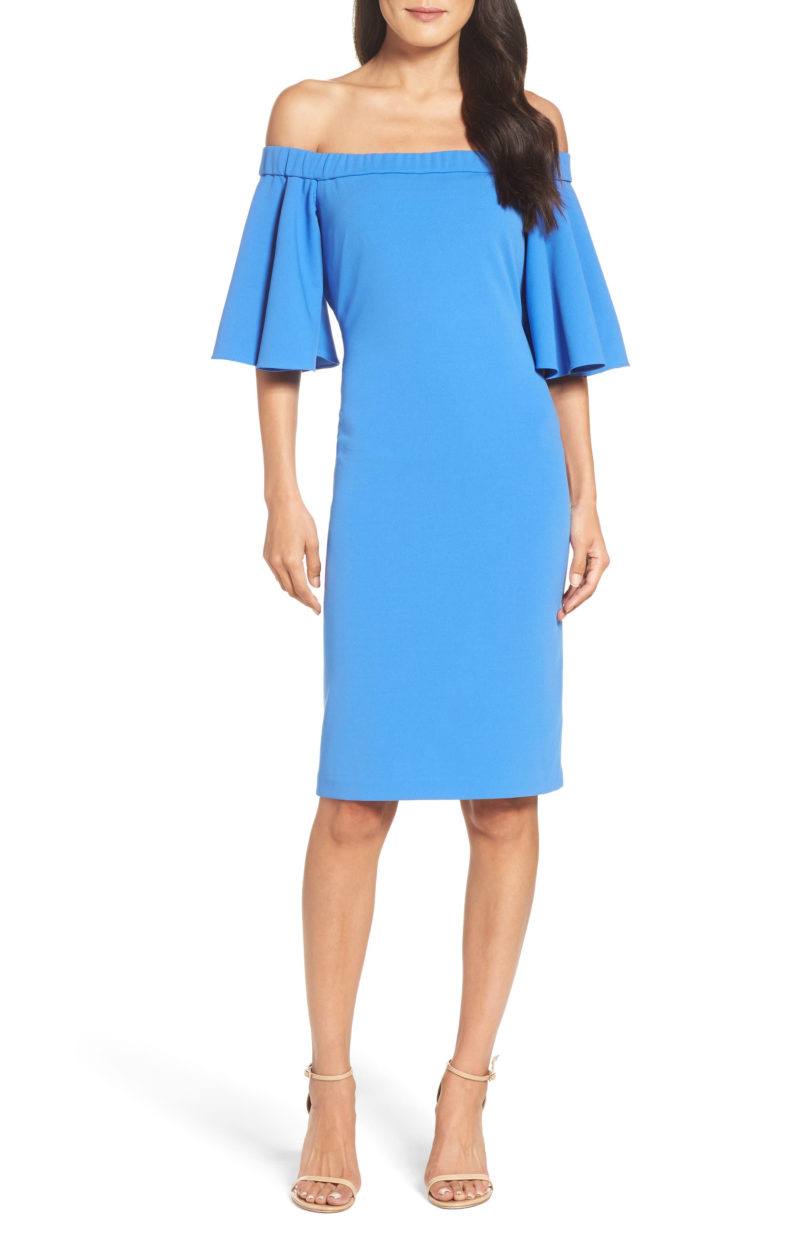 Eliza J Off The Shoulder Sheath Dress, Blue