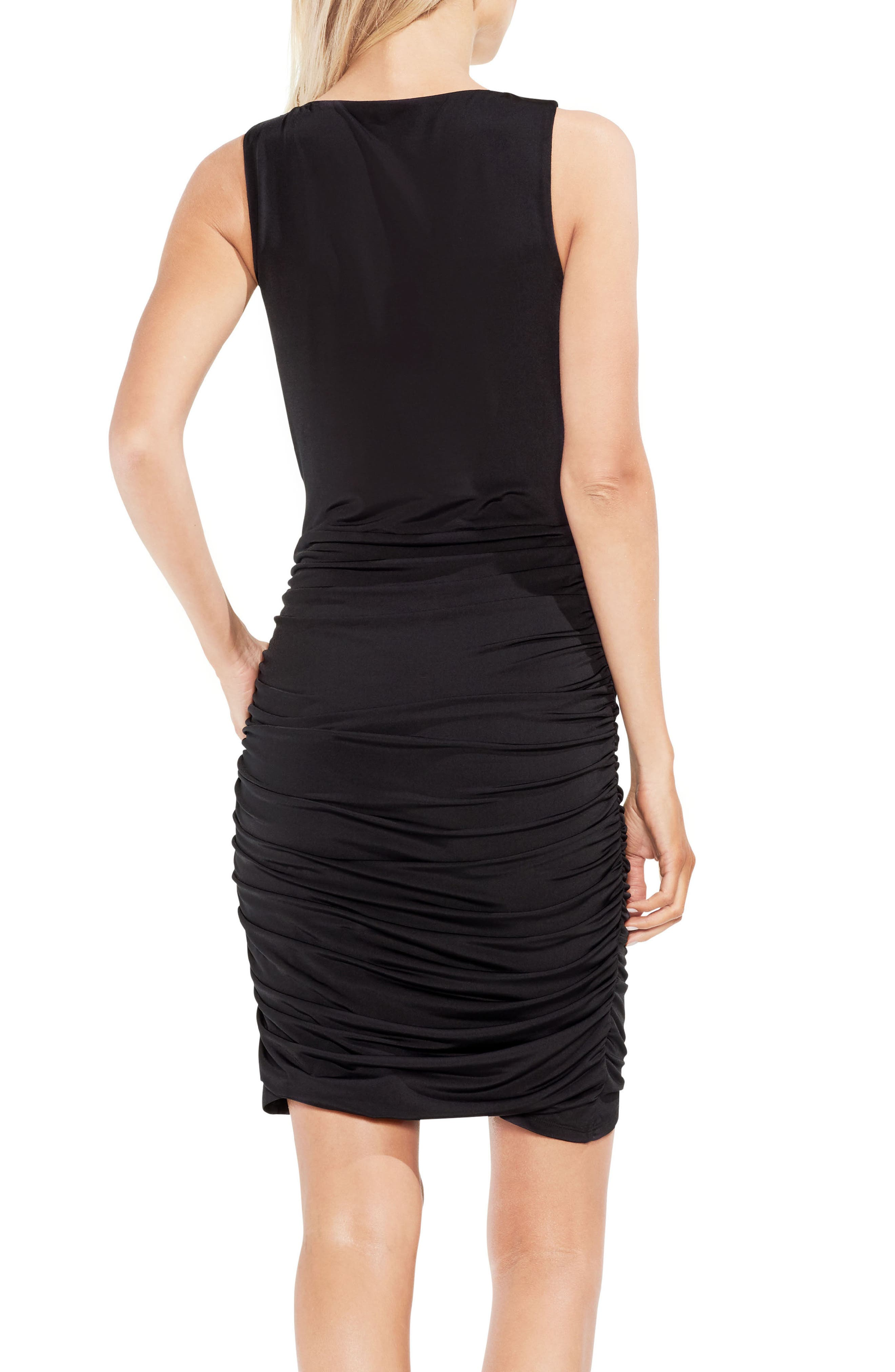 Ruched Liquid Knit Body-Con Dress,                             Alternate thumbnail 2, color,                             001