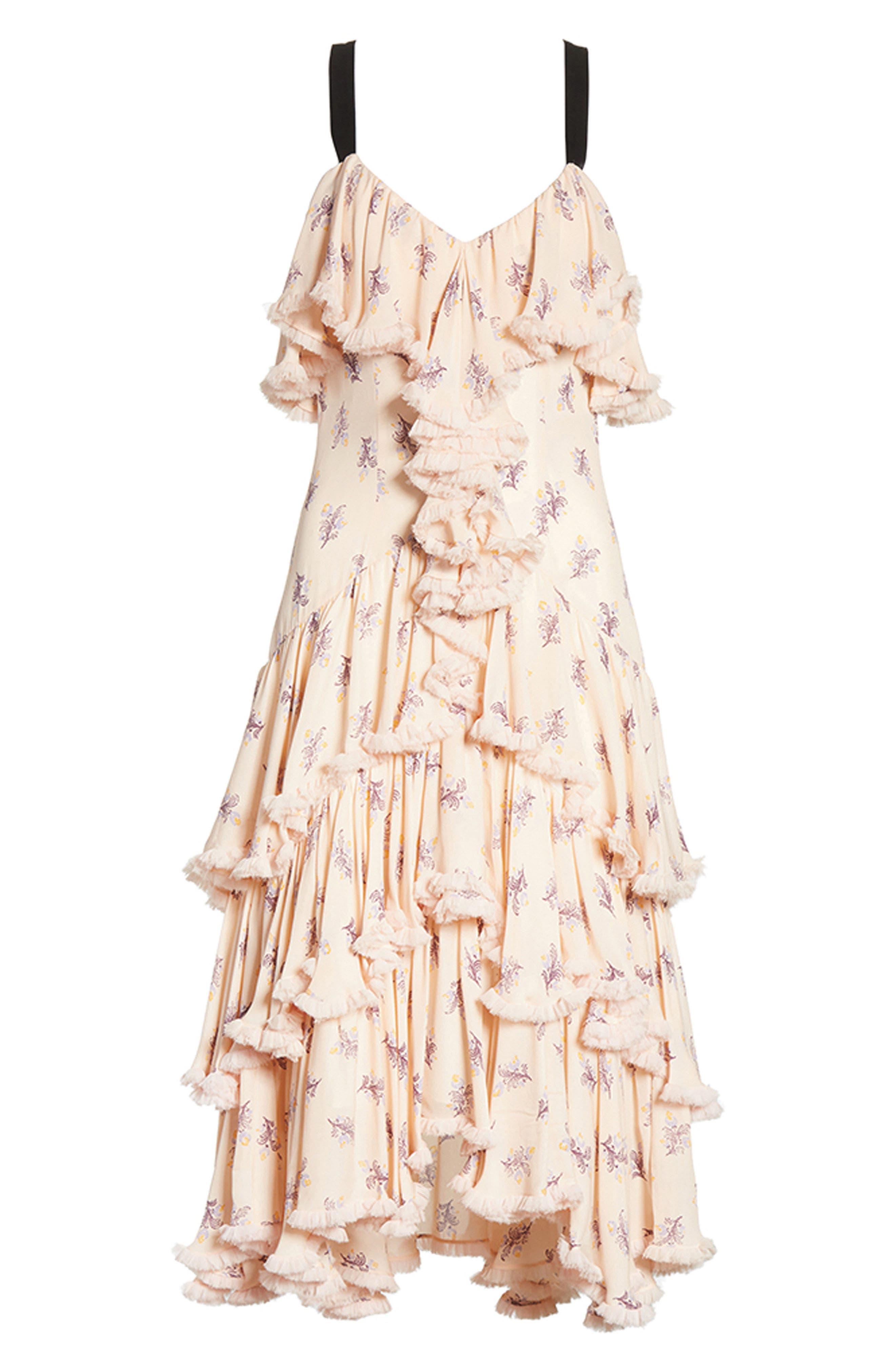Edie Floral Print Tiered Silk Dress,                             Alternate thumbnail 7, color,                             699