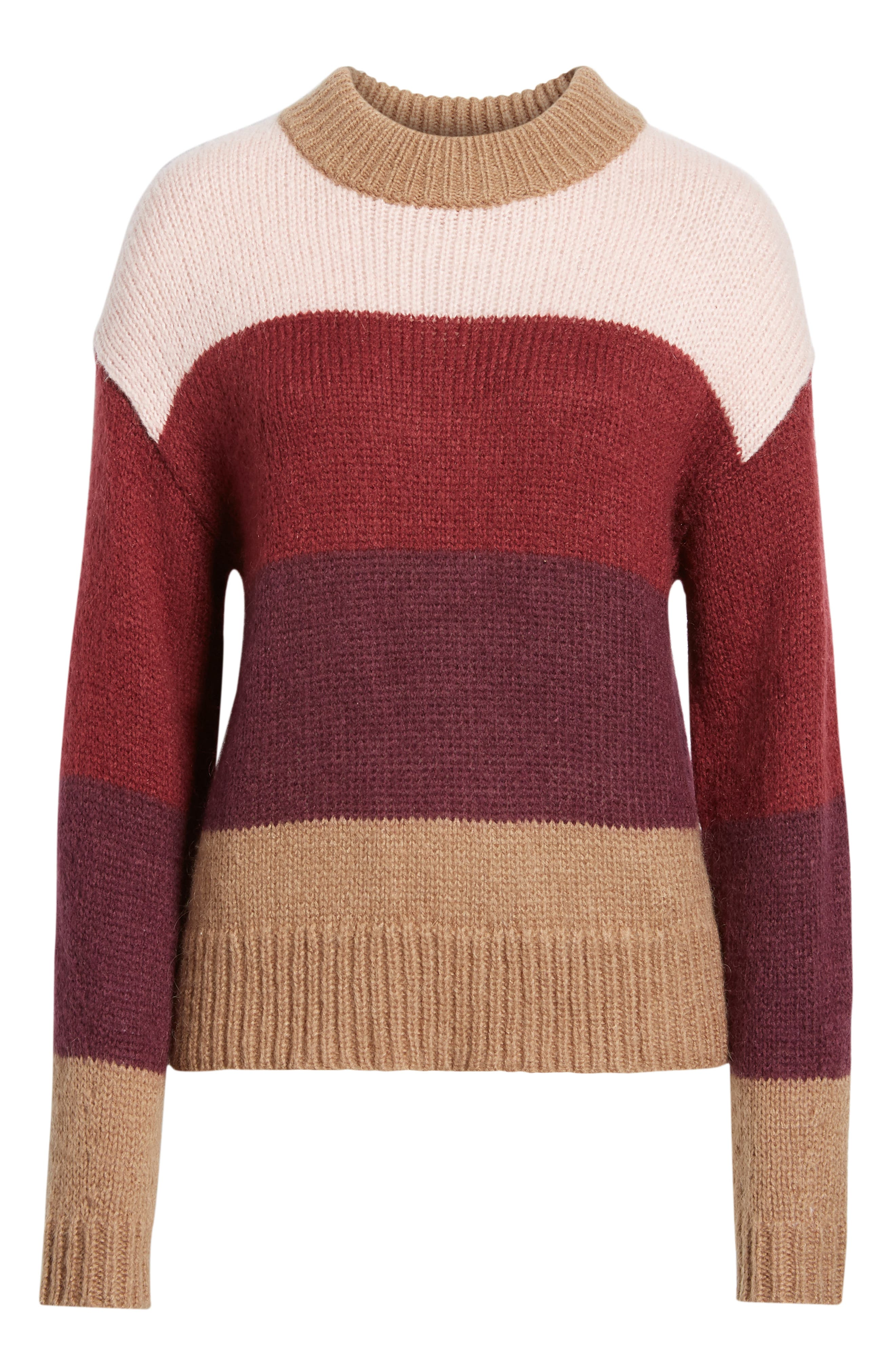 Kendall Stripe Sweater,                             Alternate thumbnail 6, color,                             CAMEL MULTI