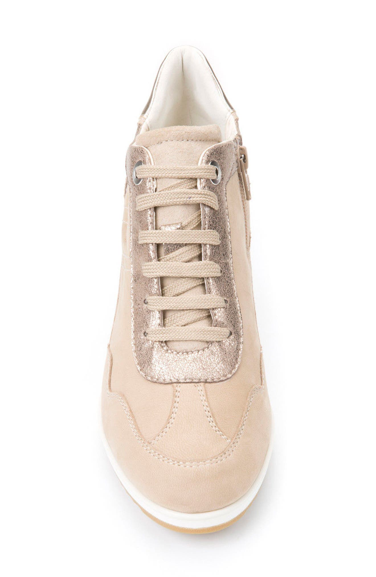 Illusion 34 Wedge Sneaker,                             Alternate thumbnail 4, color,                             SAND LEATHER