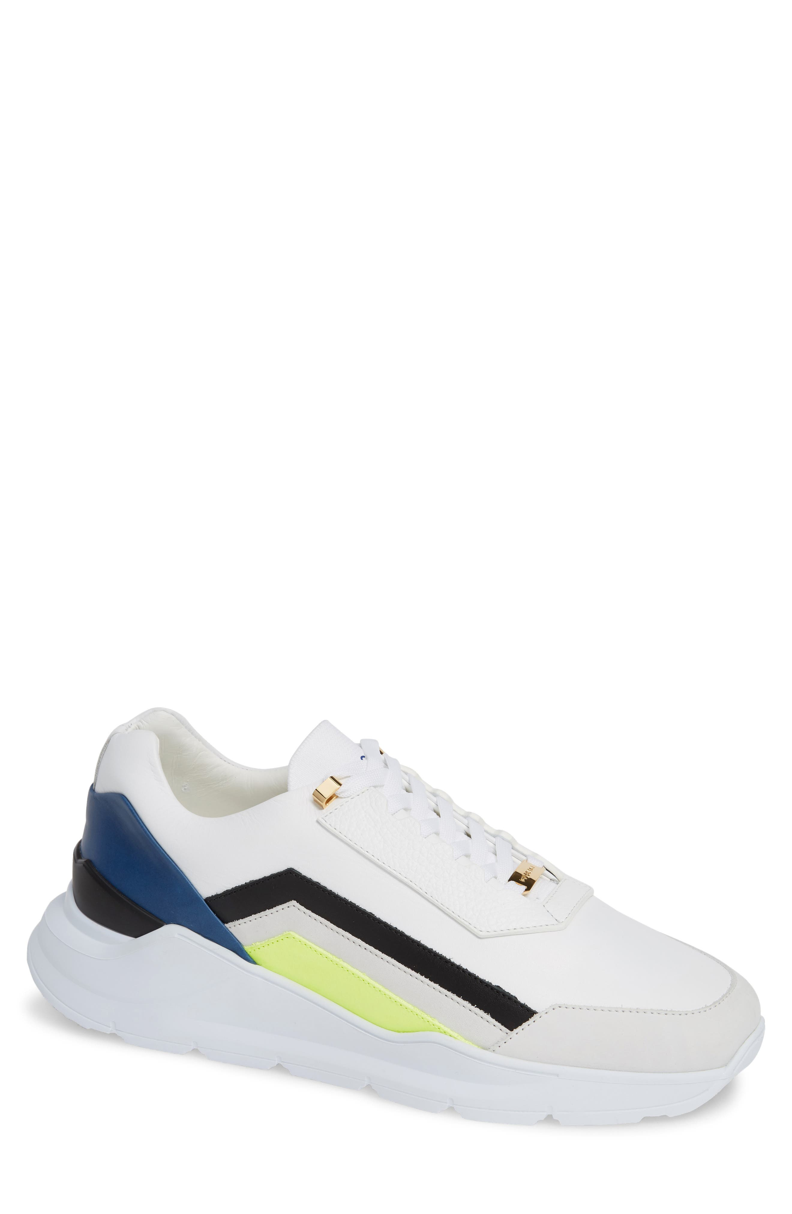BUSCEMI Men'S Strada Leather Trainer Sneakers in White