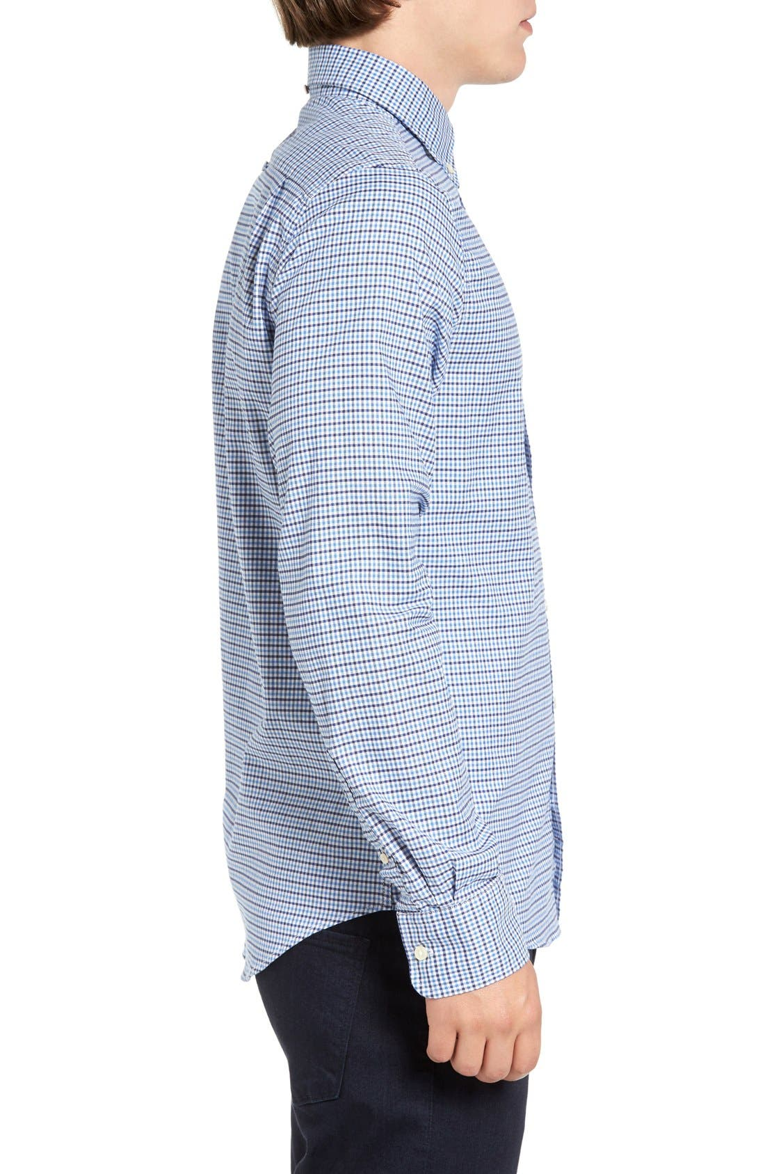 Gingham Fitted Sport Shirt,                             Alternate thumbnail 9, color,