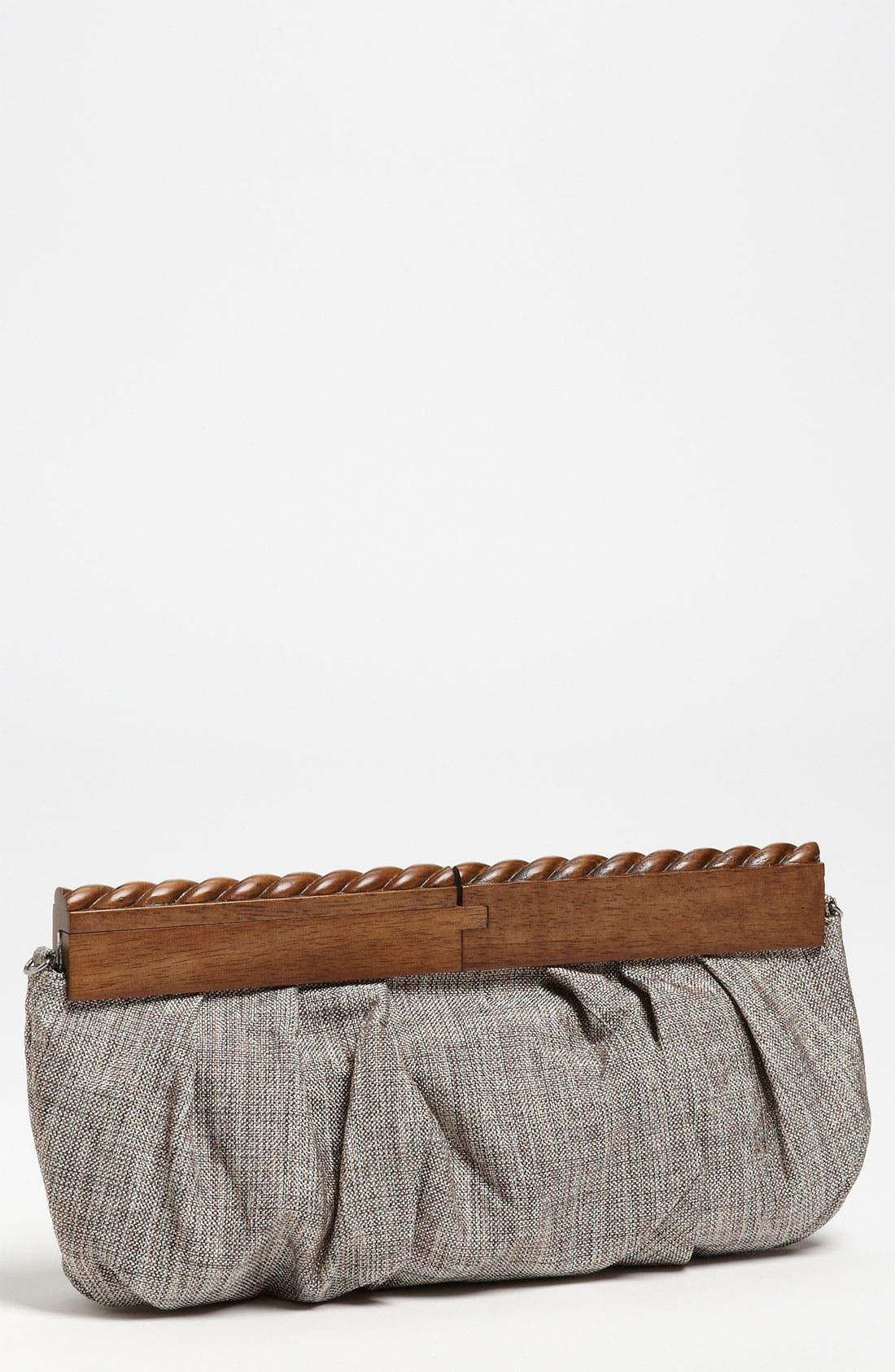 SR Squared by Sondra Roberts Linen & Wood Clutch,                         Main,                         color,