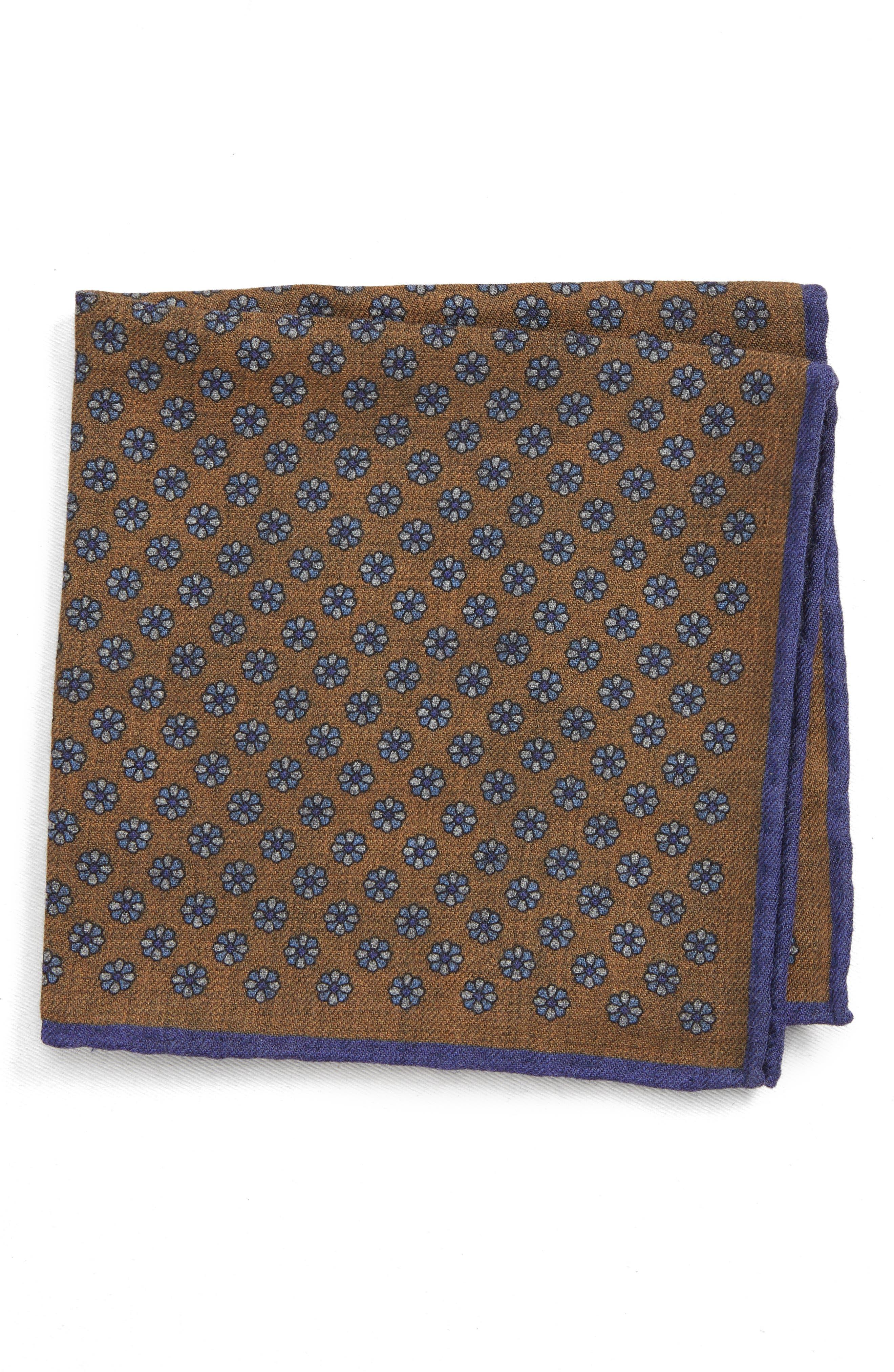 Medallion Wool Pocket Square,                         Main,                         color, BROWN