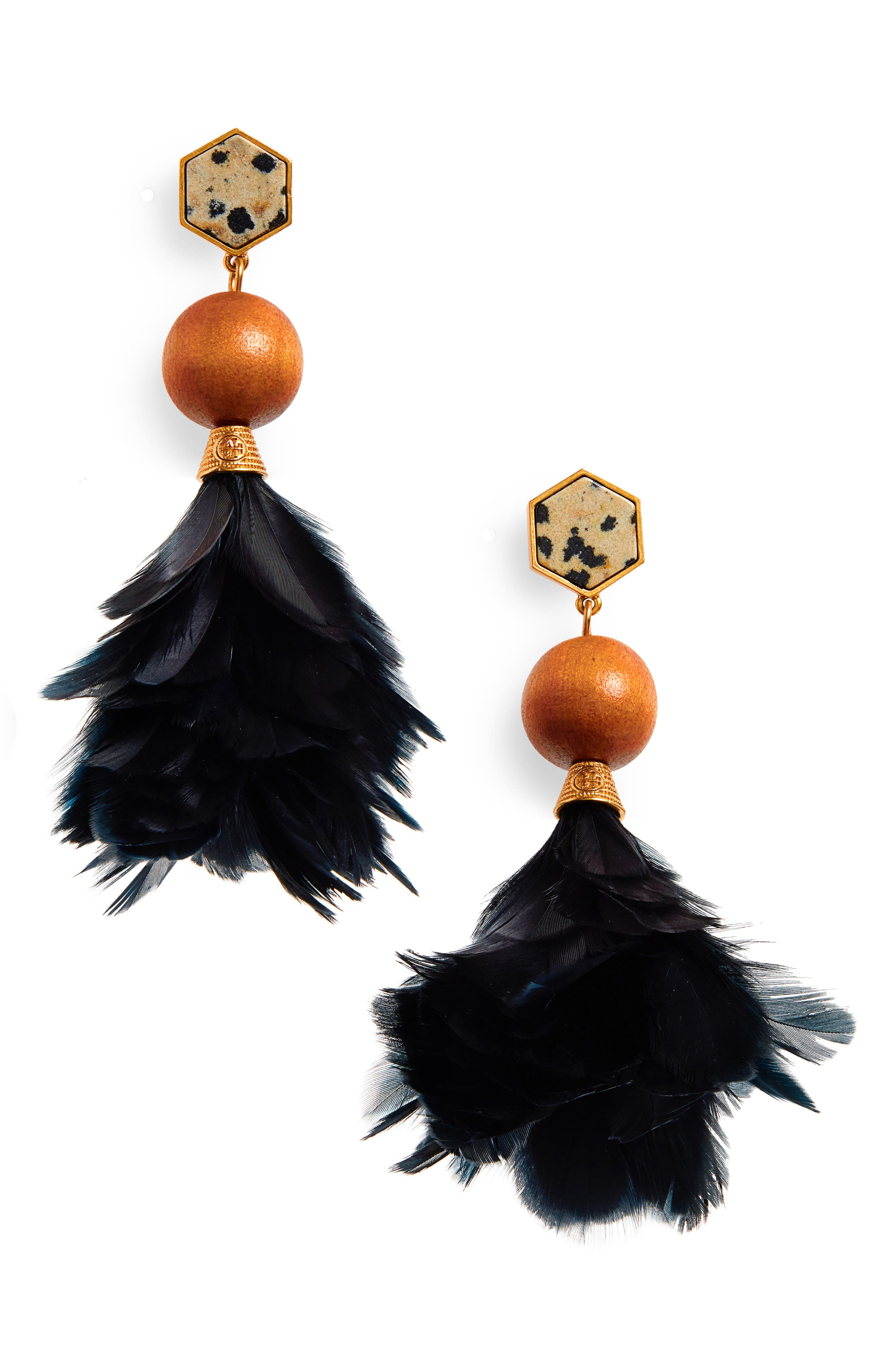 Feather Drop Earrings,                         Main,                         color, TORY NAVY/ JASPER