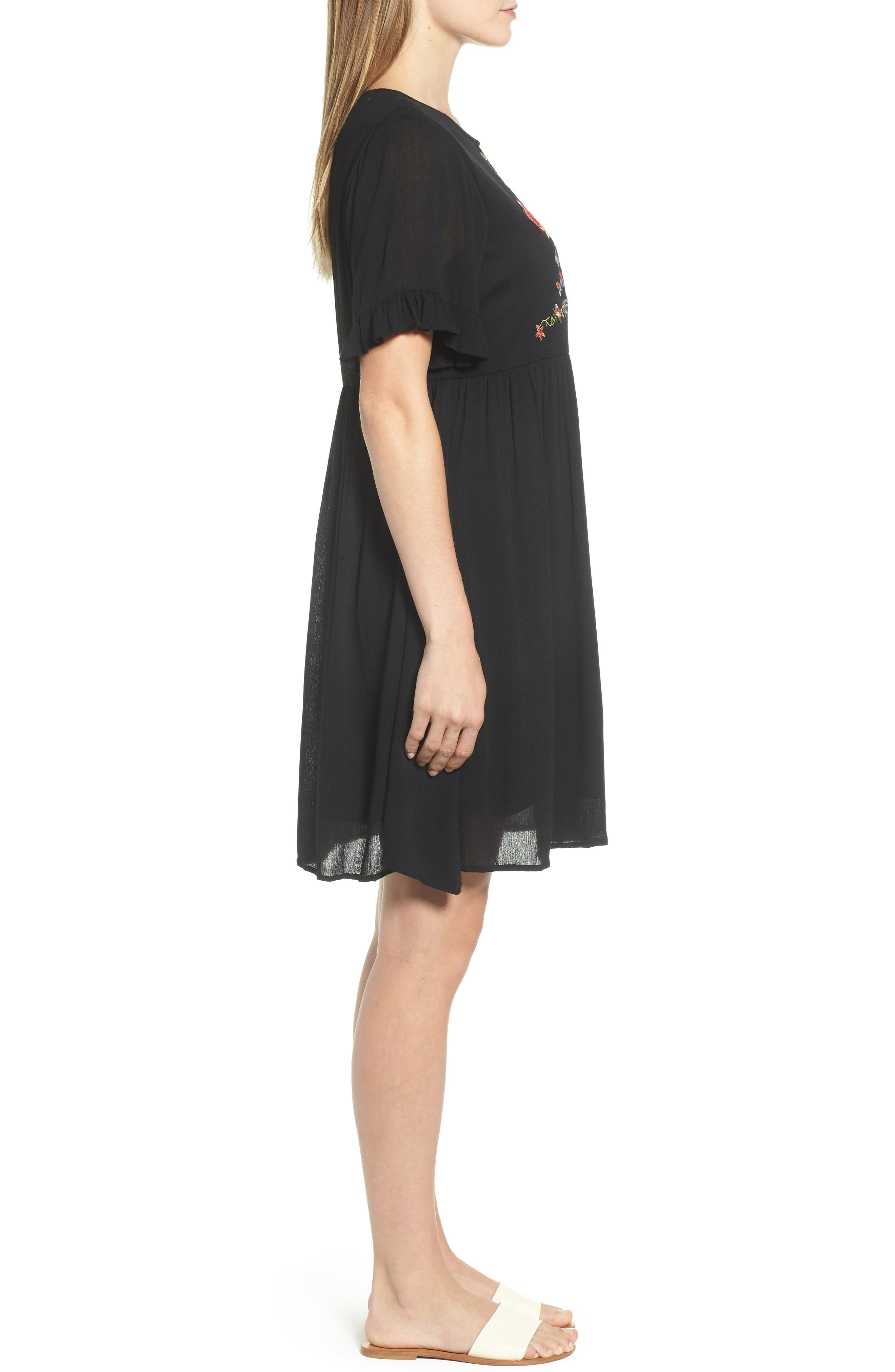 EVERLEIGH,                             Embroidered Dress,                             Alternate thumbnail 3, color,                             001