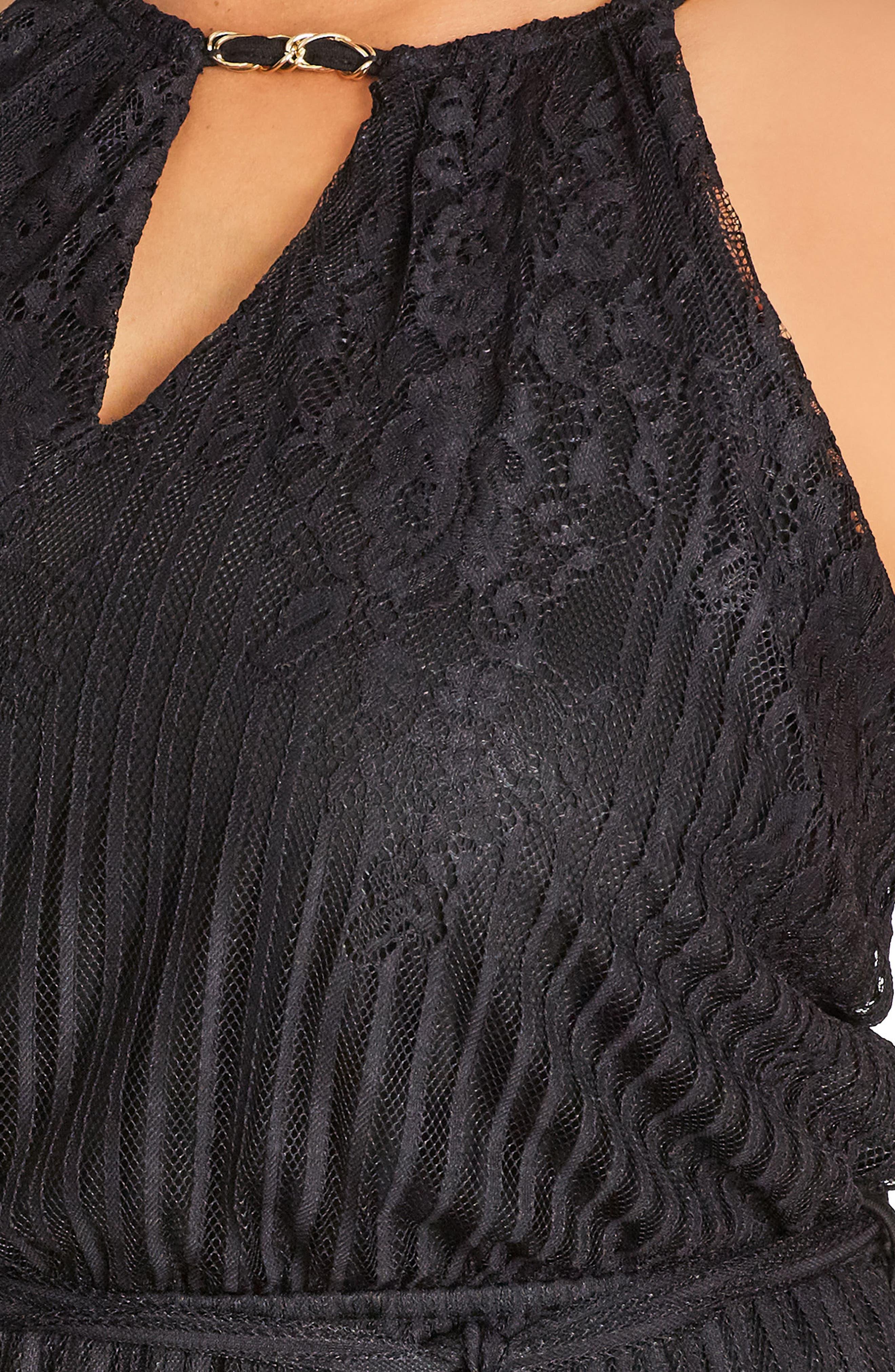 Studio 54 Stripe Lace Maxi Dress,                             Alternate thumbnail 3, color,                             001