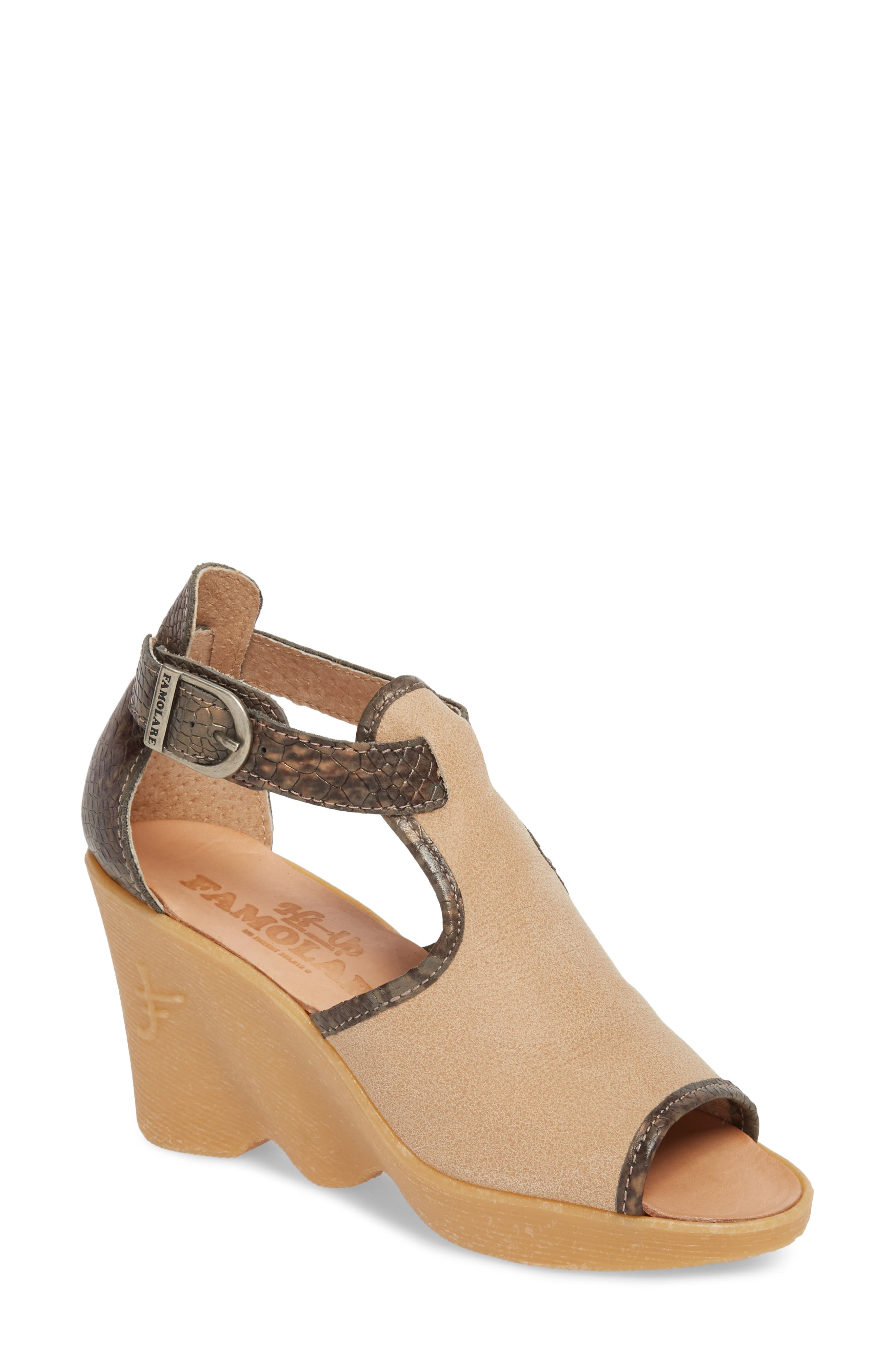Queen Bee Wedge Sandal,                             Main thumbnail 1, color,                             NUDE MIX LEATHER