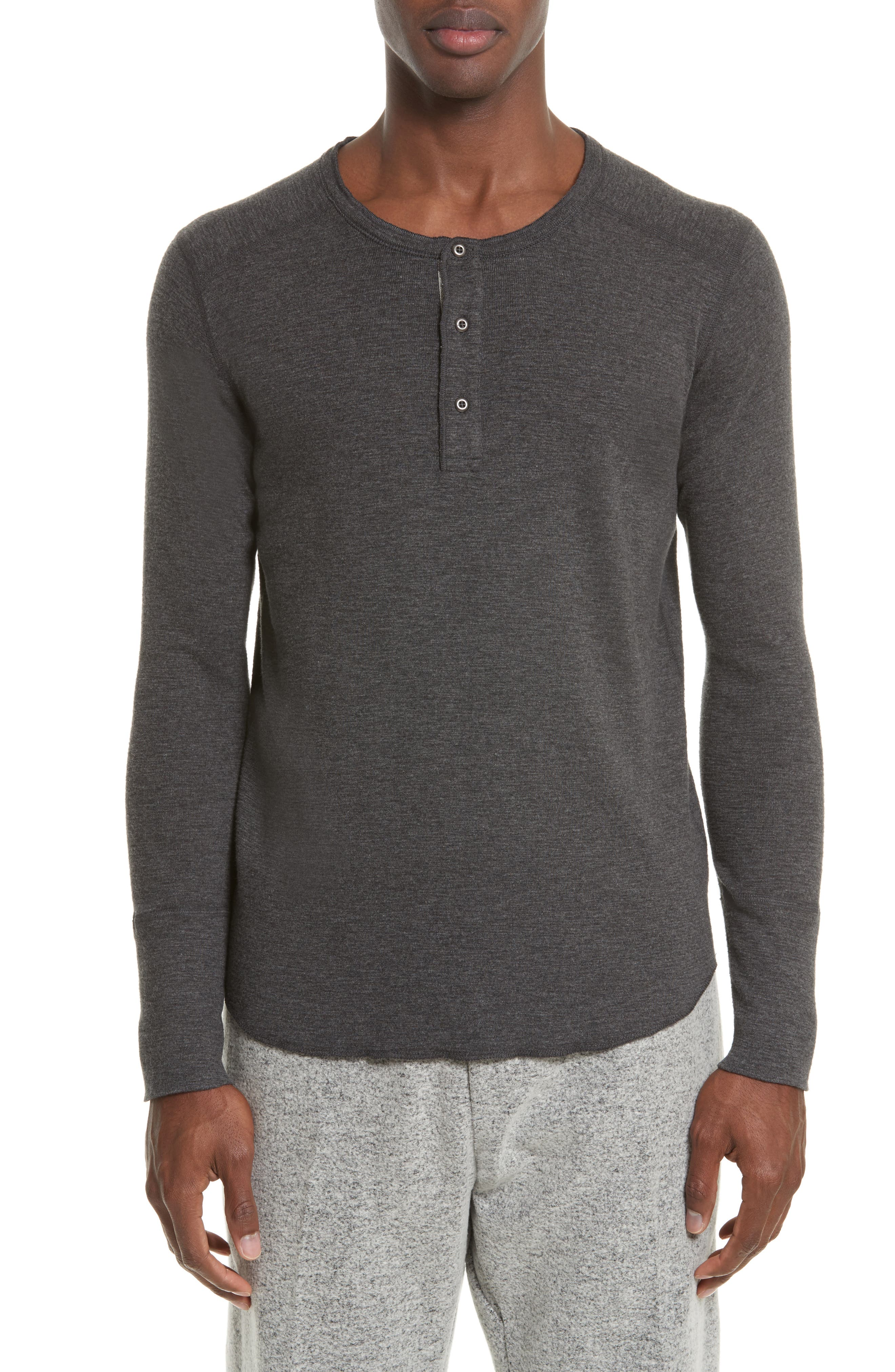 WINGS + HORNS 'Base' Long Sleeve Henley in Heather Charcoal