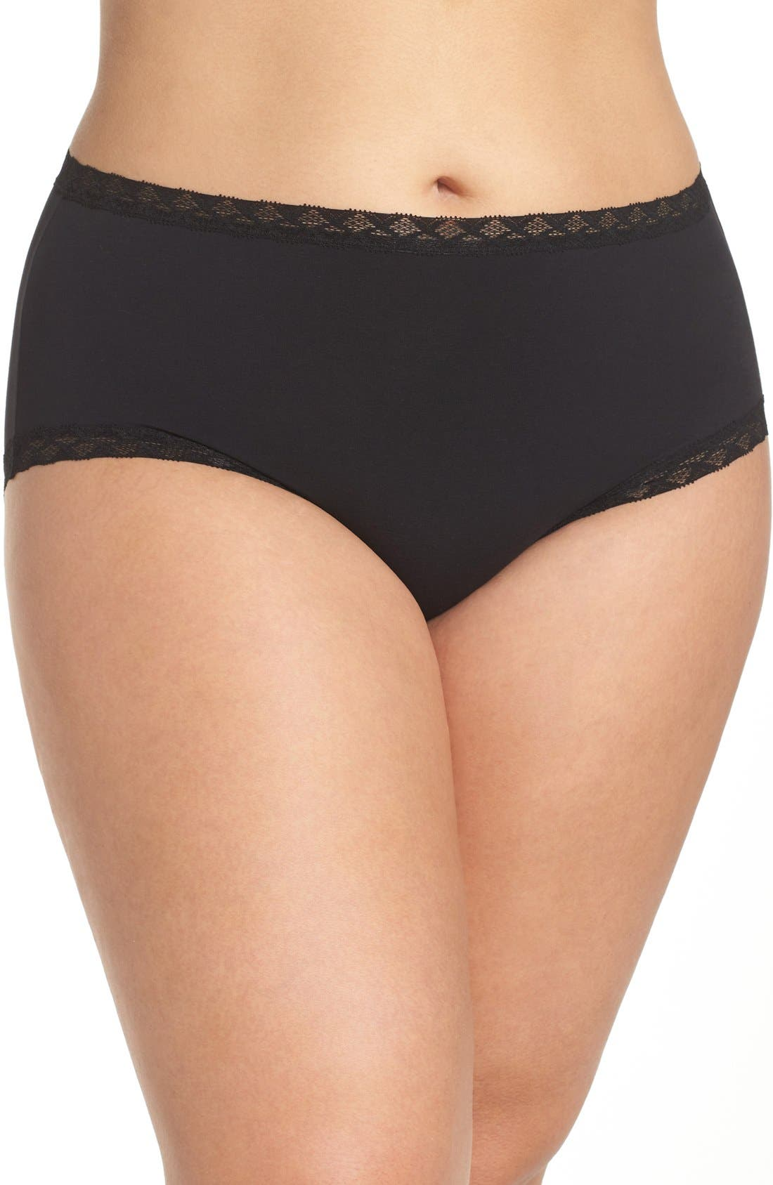Bliss Cotton Full Brief,                             Main thumbnail 1, color,                             BLACK