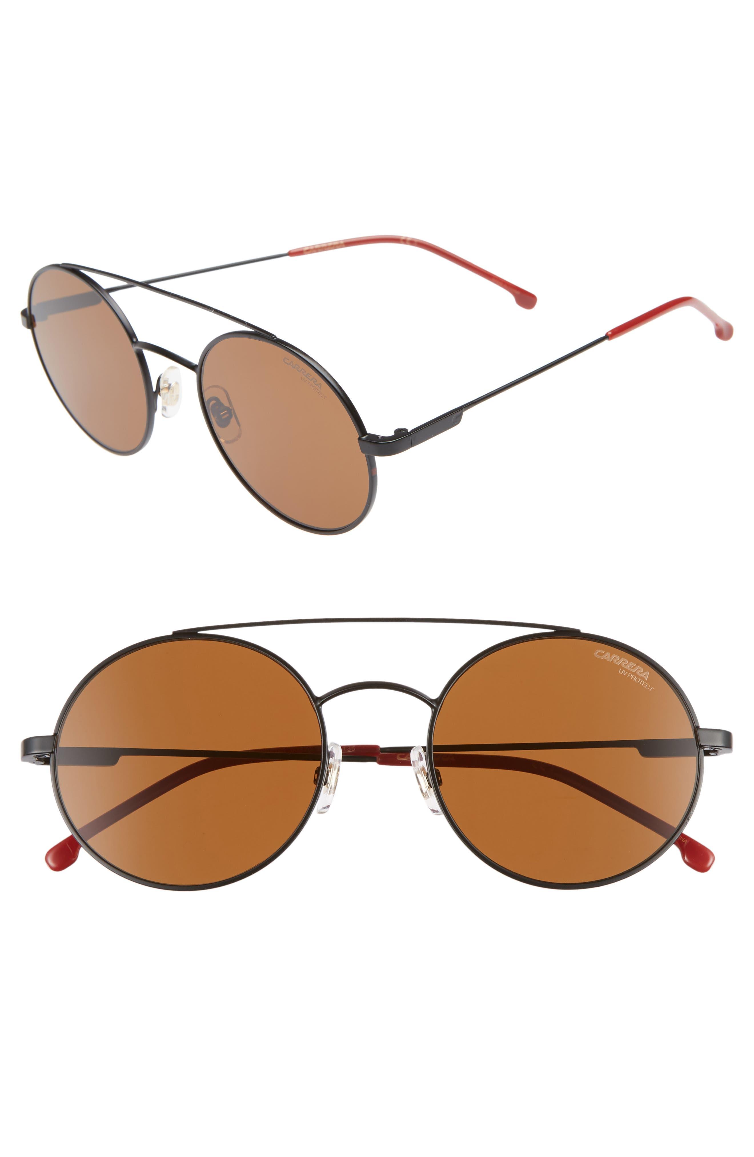 51mm Round Sunglasses,                             Main thumbnail 1, color,                             MATTE BLACK