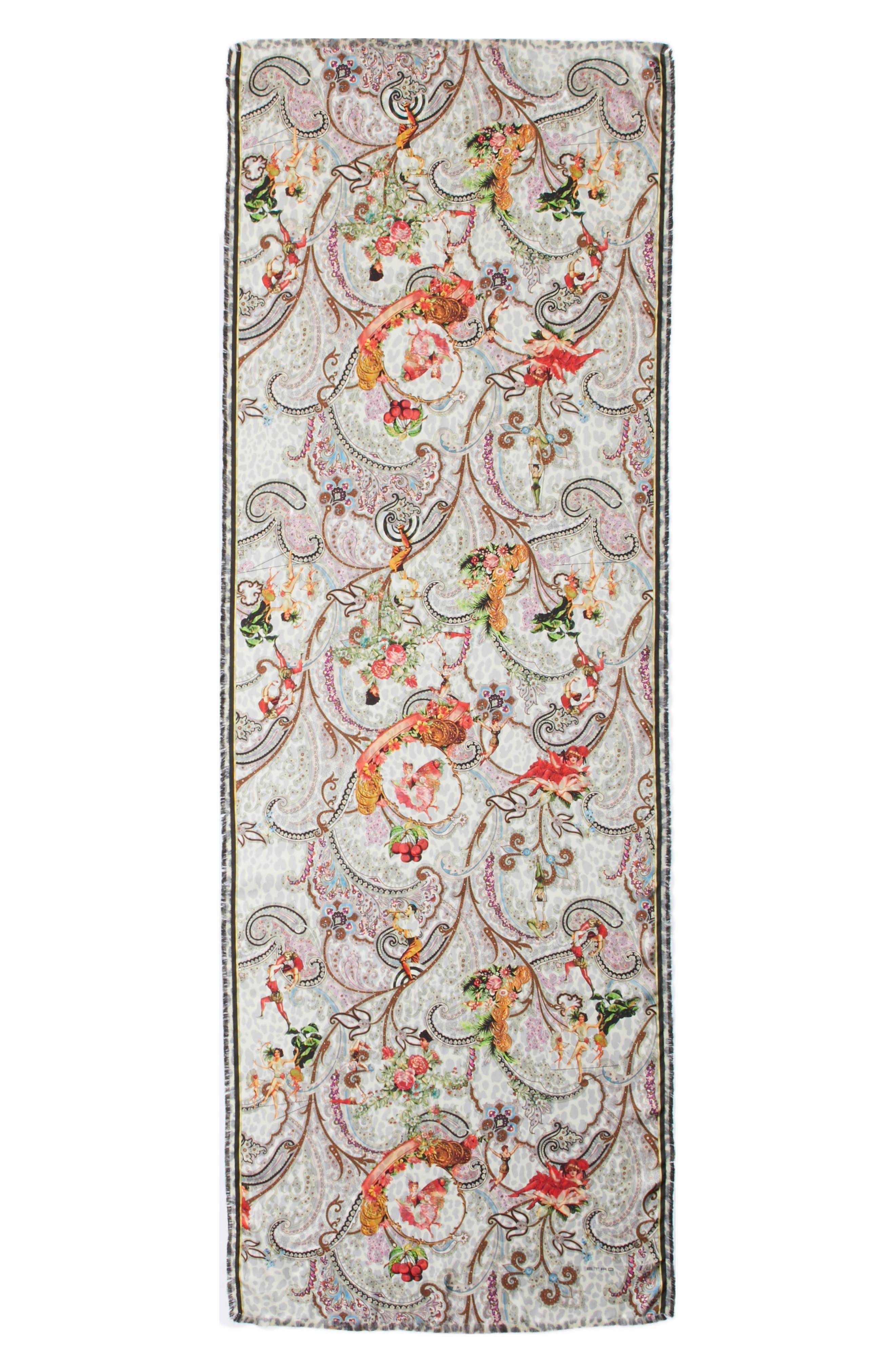 Dancer Paisley Reversible Silk Scarf,                         Main,                         color, WHITE