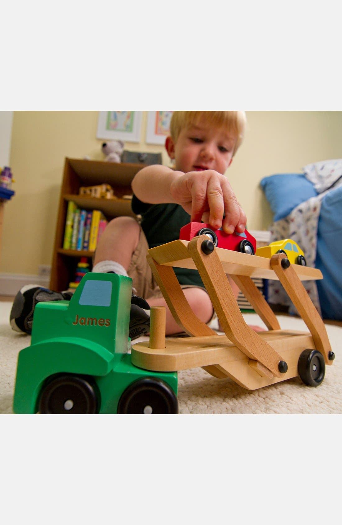 Personalized Wooden Car Carrier,                             Alternate thumbnail 2, color,                             GREEN