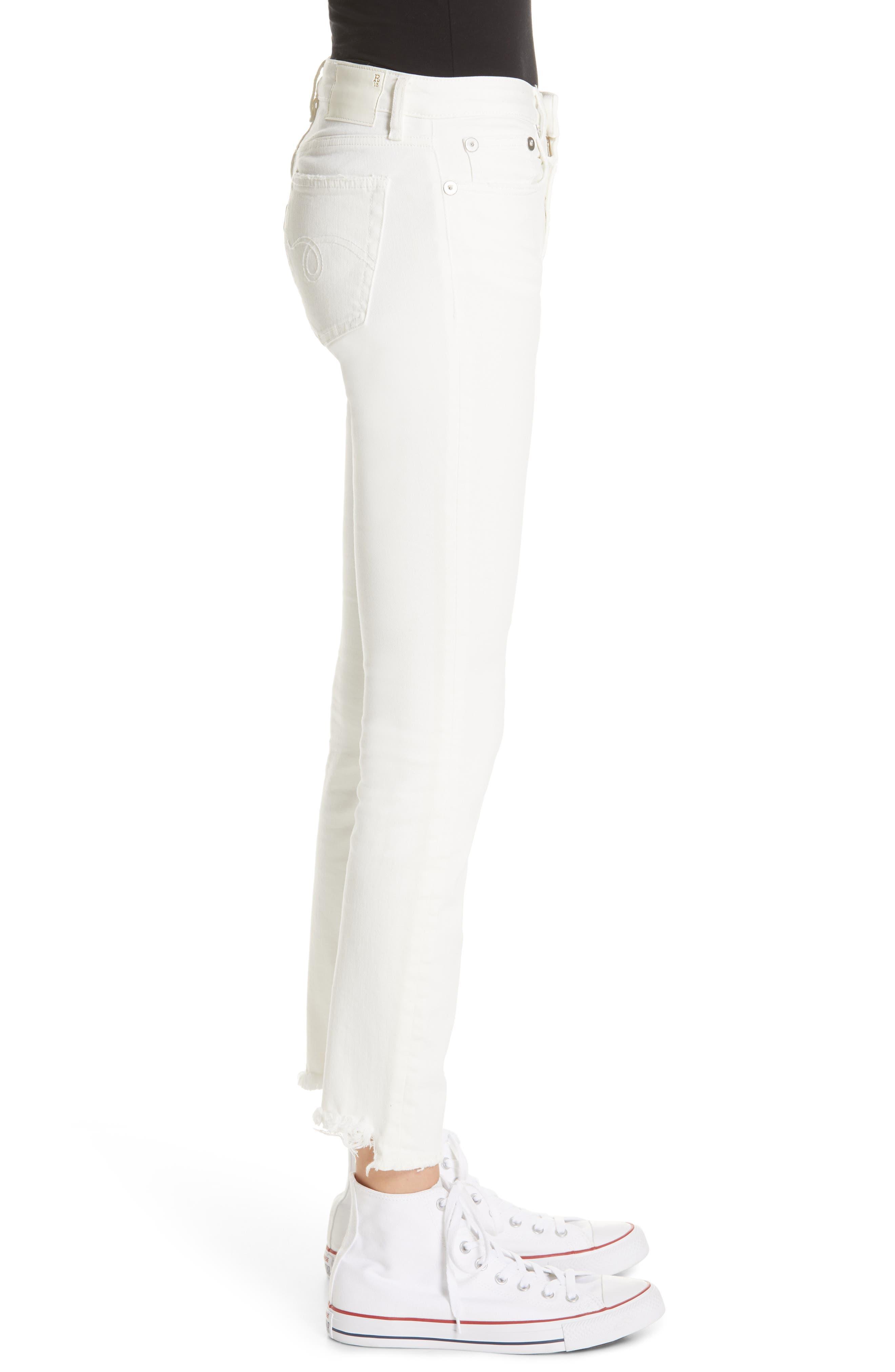 R13,                             Allison Distressed Skinny Jeans,                             Alternate thumbnail 3, color,                             GARRET WHITE