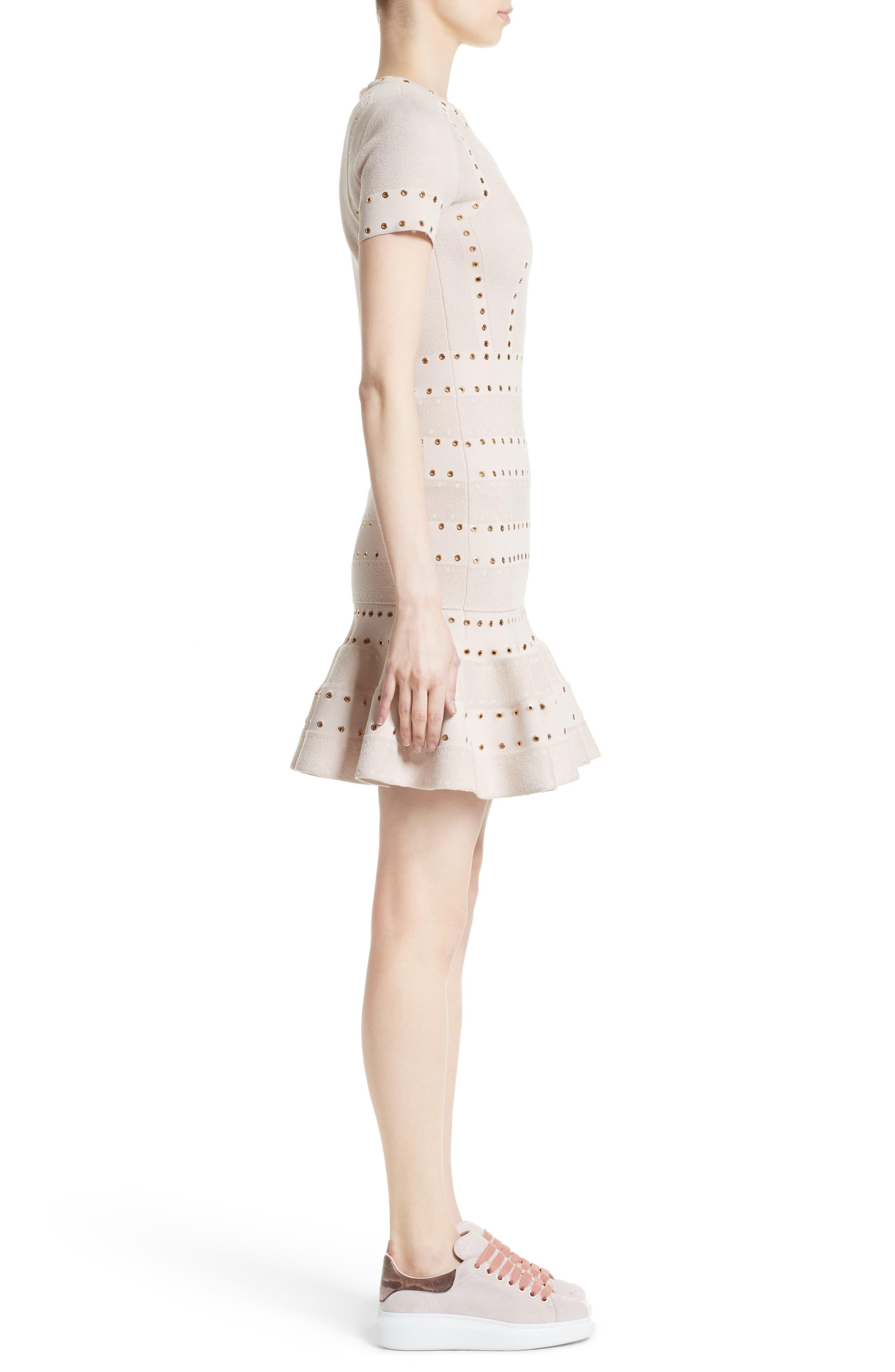 Eyelet Detail Knit Dress,                             Alternate thumbnail 3, color,                             900
