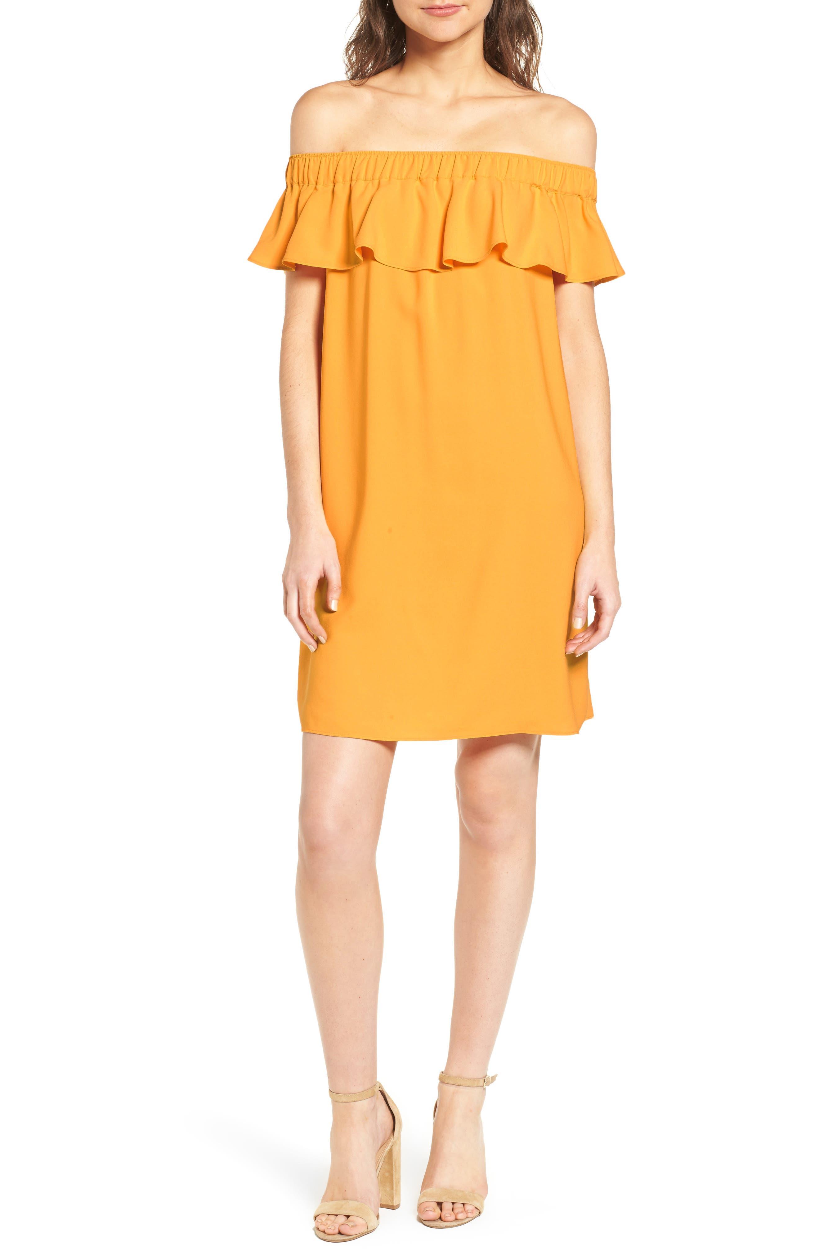 Off the Shoulder Crepe Dress,                             Main thumbnail 2, color,
