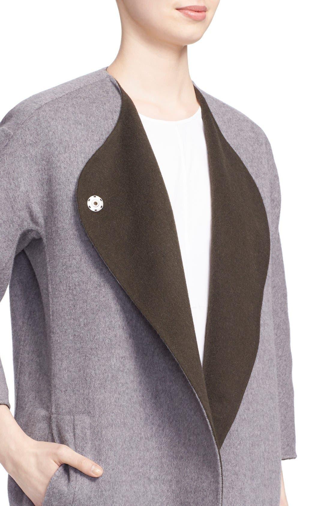 Reversible Wool & Angora Car Coat,                             Alternate thumbnail 4, color,                             020