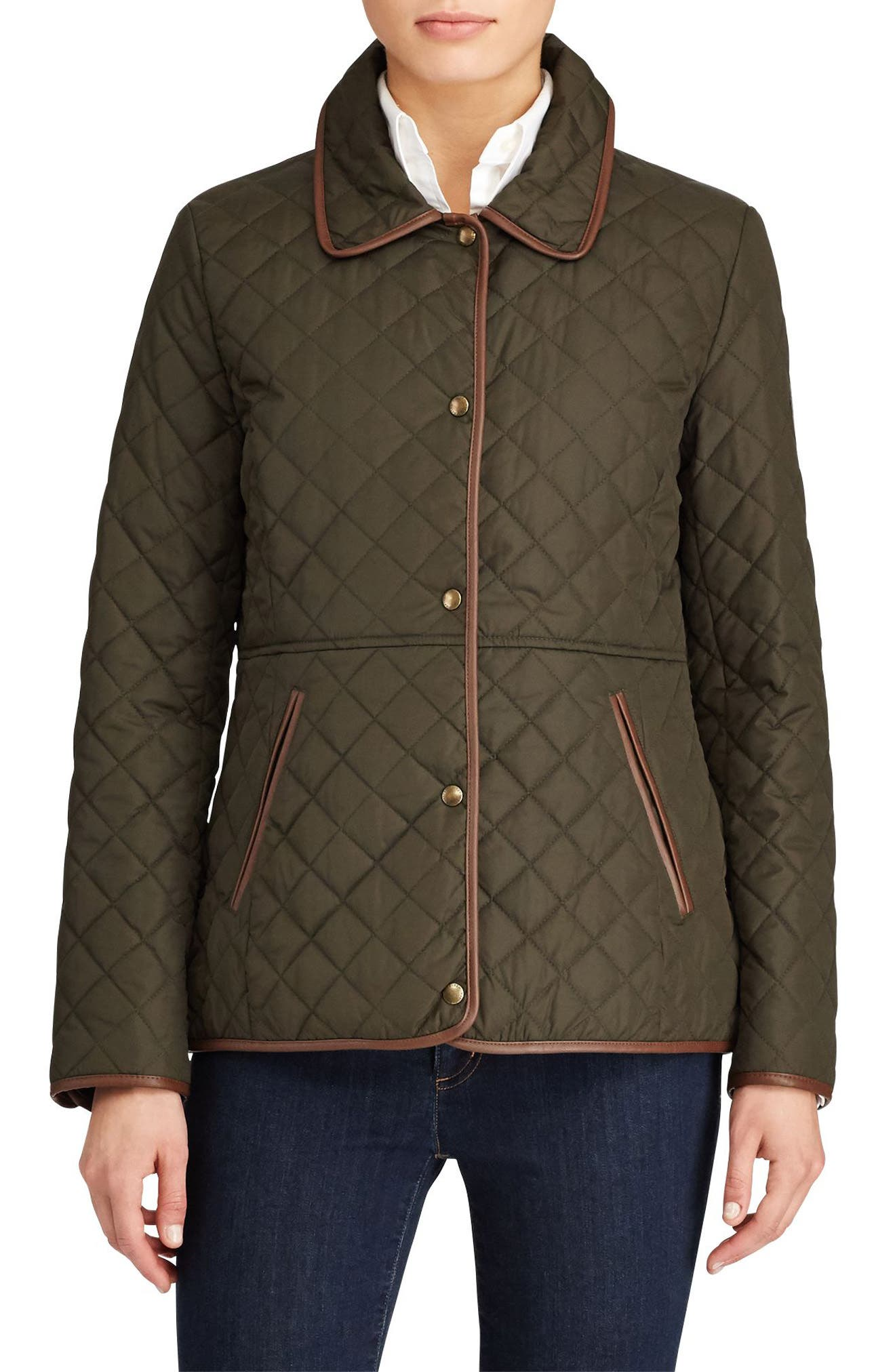 Faux Leather Trim Quilted Jacket,                             Main thumbnail 1, color,                             LITCHFIELD LODEN