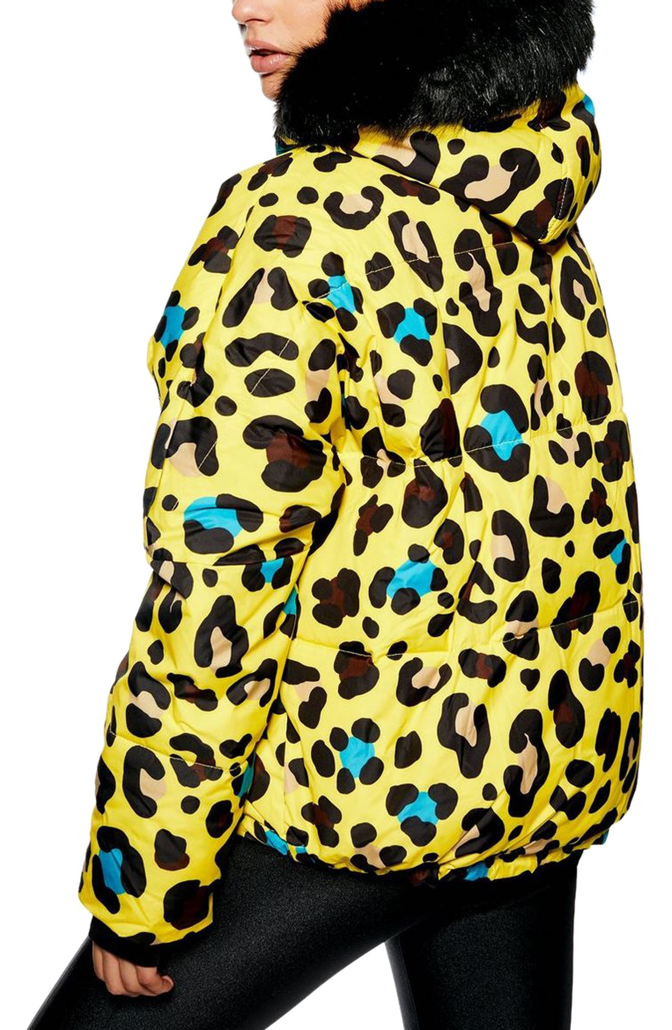 Piper Water Repellent Leopard Print Jacket & Mittens Set,                             Alternate thumbnail 2, color,                             YELLOW