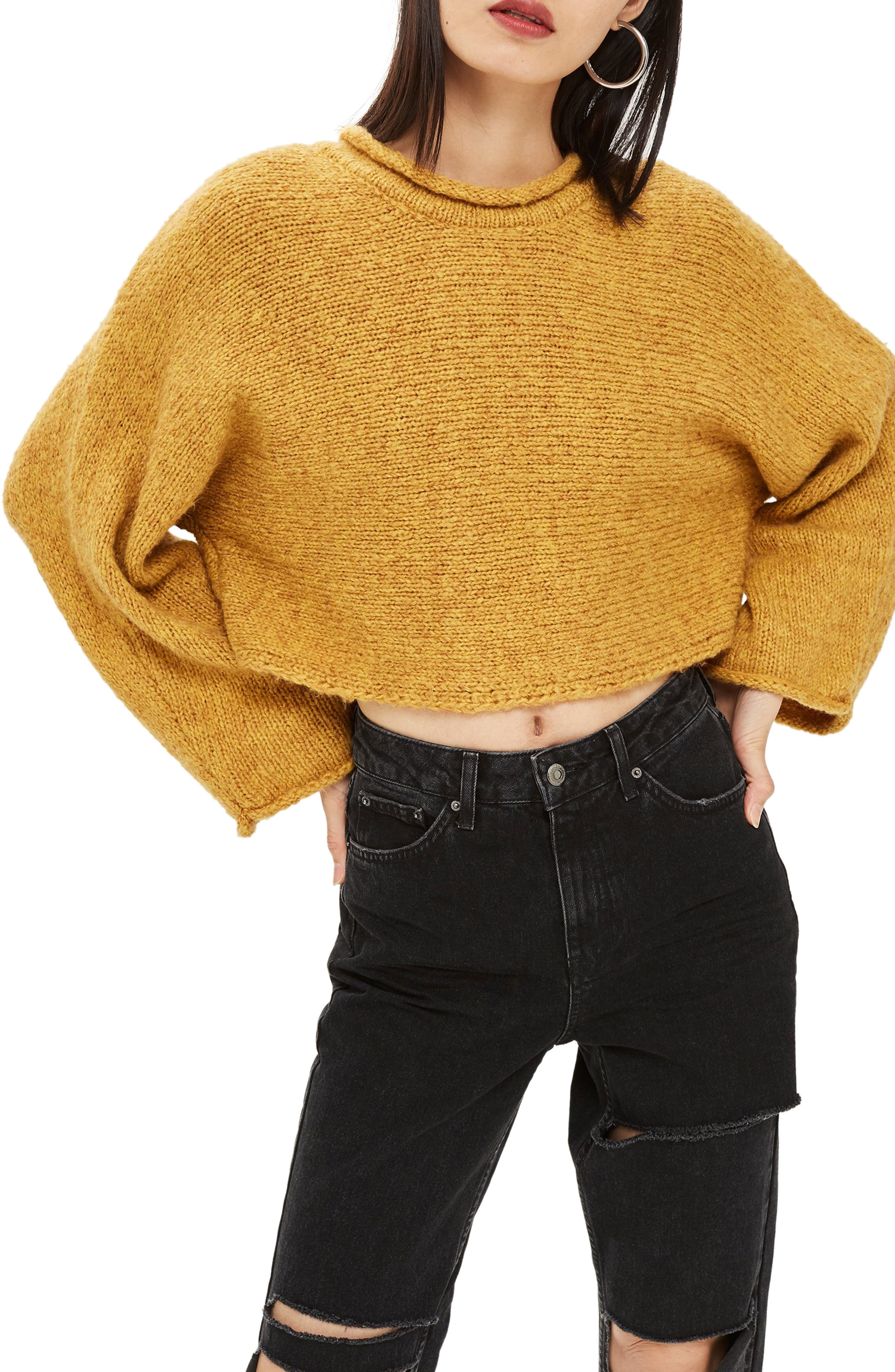 Punk Roll Neck Crop Sweater,                             Main thumbnail 1, color,                             MUSTARD