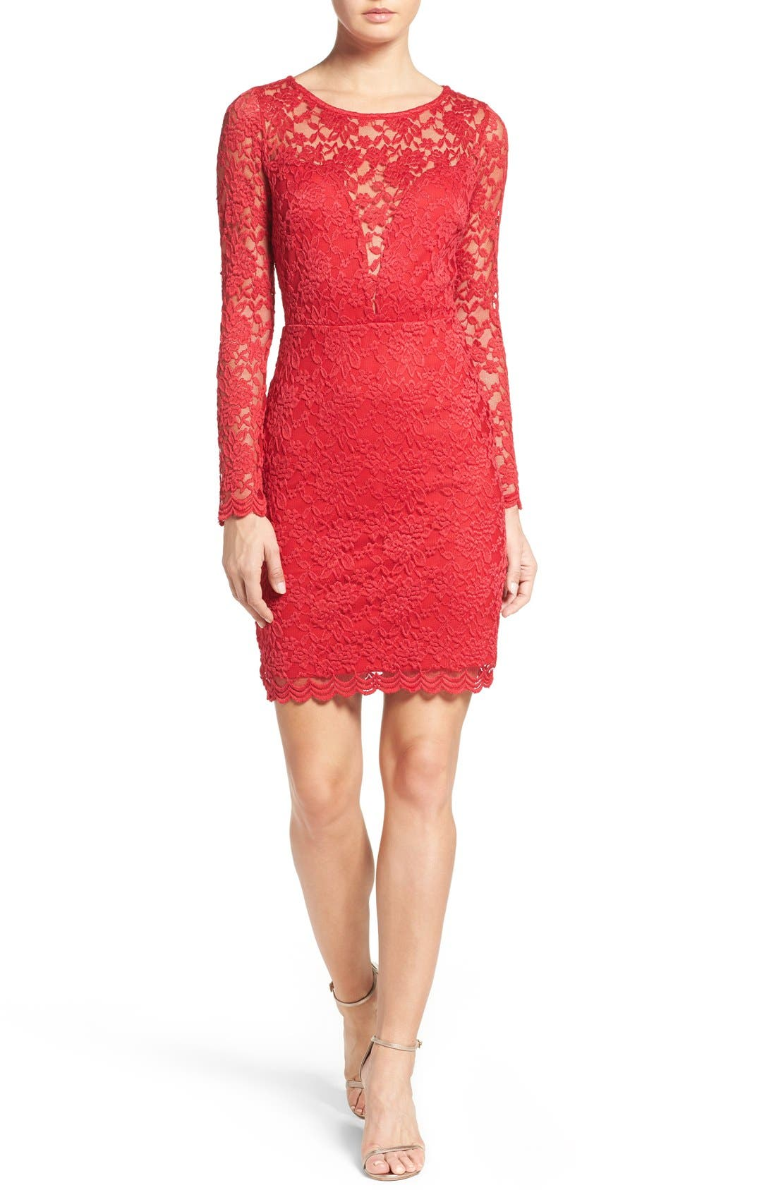 Lace Body-Con Dress,                             Alternate thumbnail 3, color,                             610