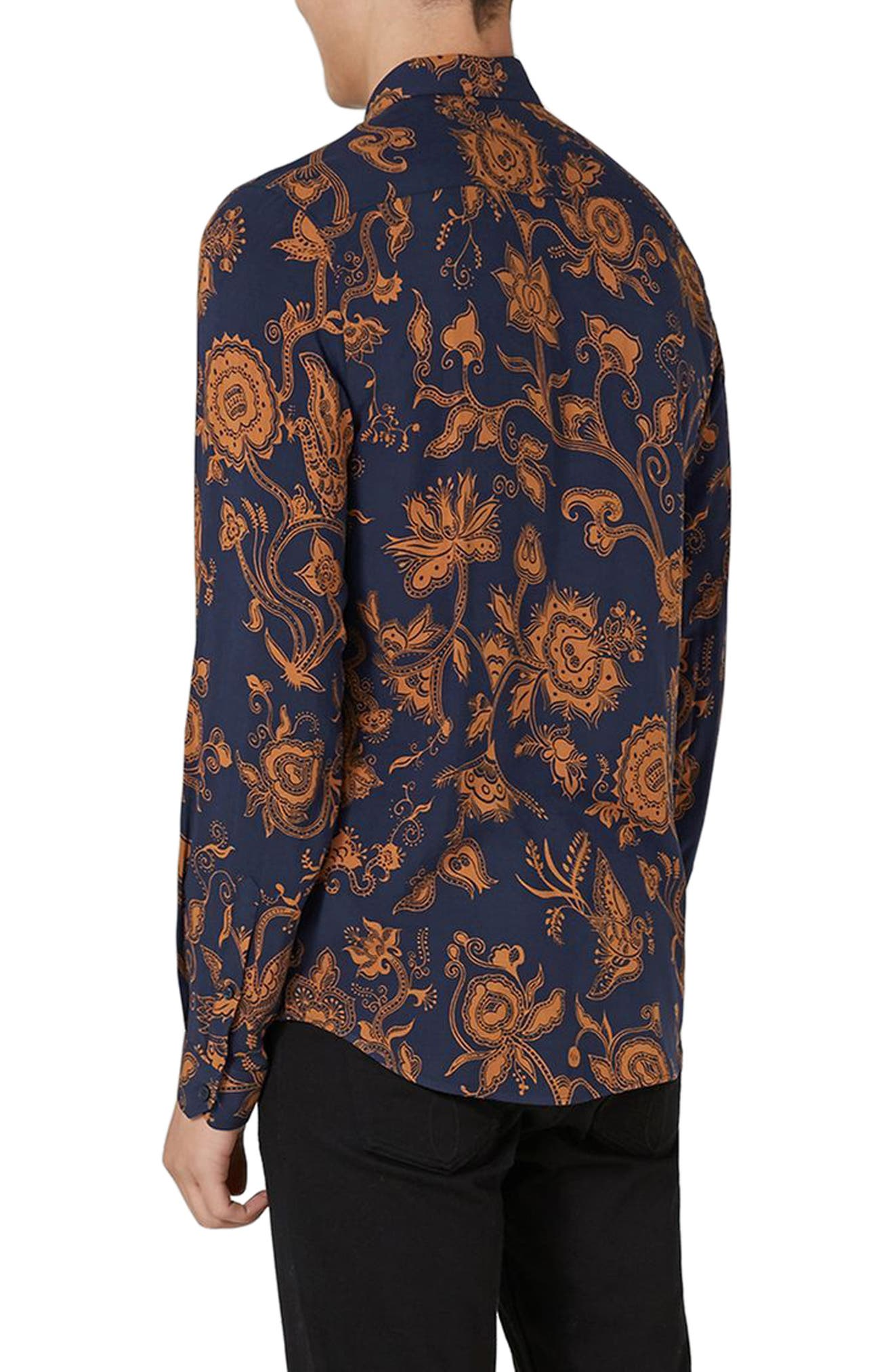 Classic Fit Floral Print Shirt,                             Alternate thumbnail 2, color,