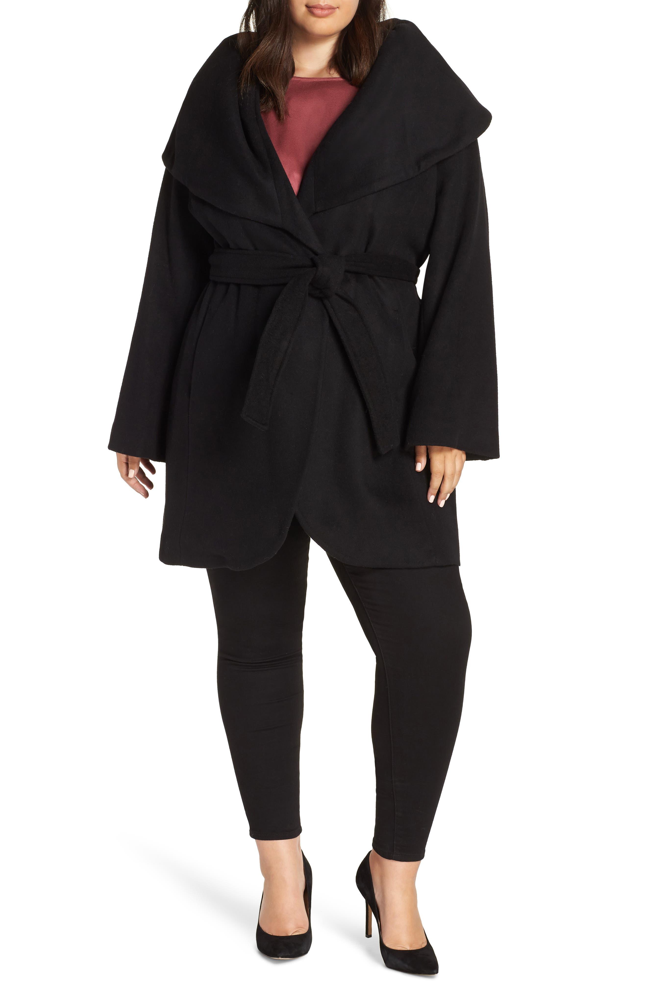 Marla Cutaway Wrap Coat with Oversize Collar,                             Main thumbnail 1, color,                             002
