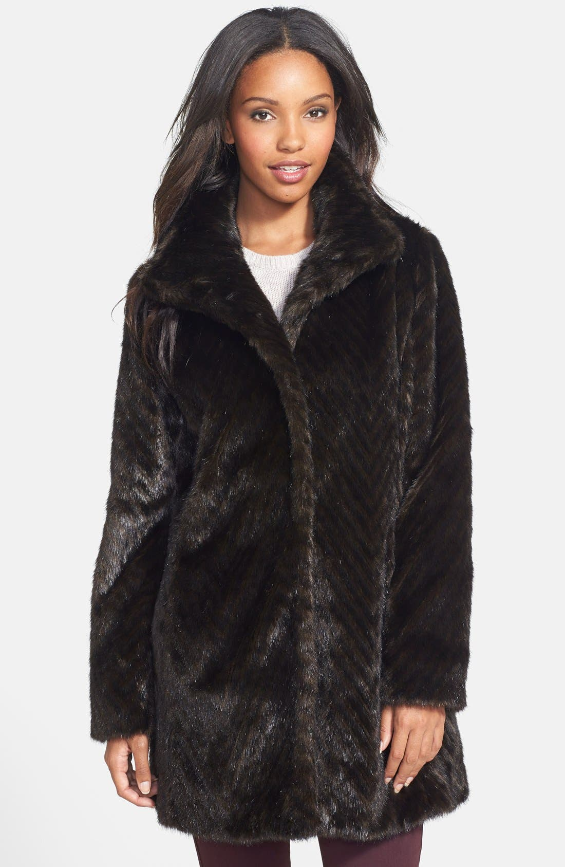 Faux Fur A-Line Coat, Main, color, 200