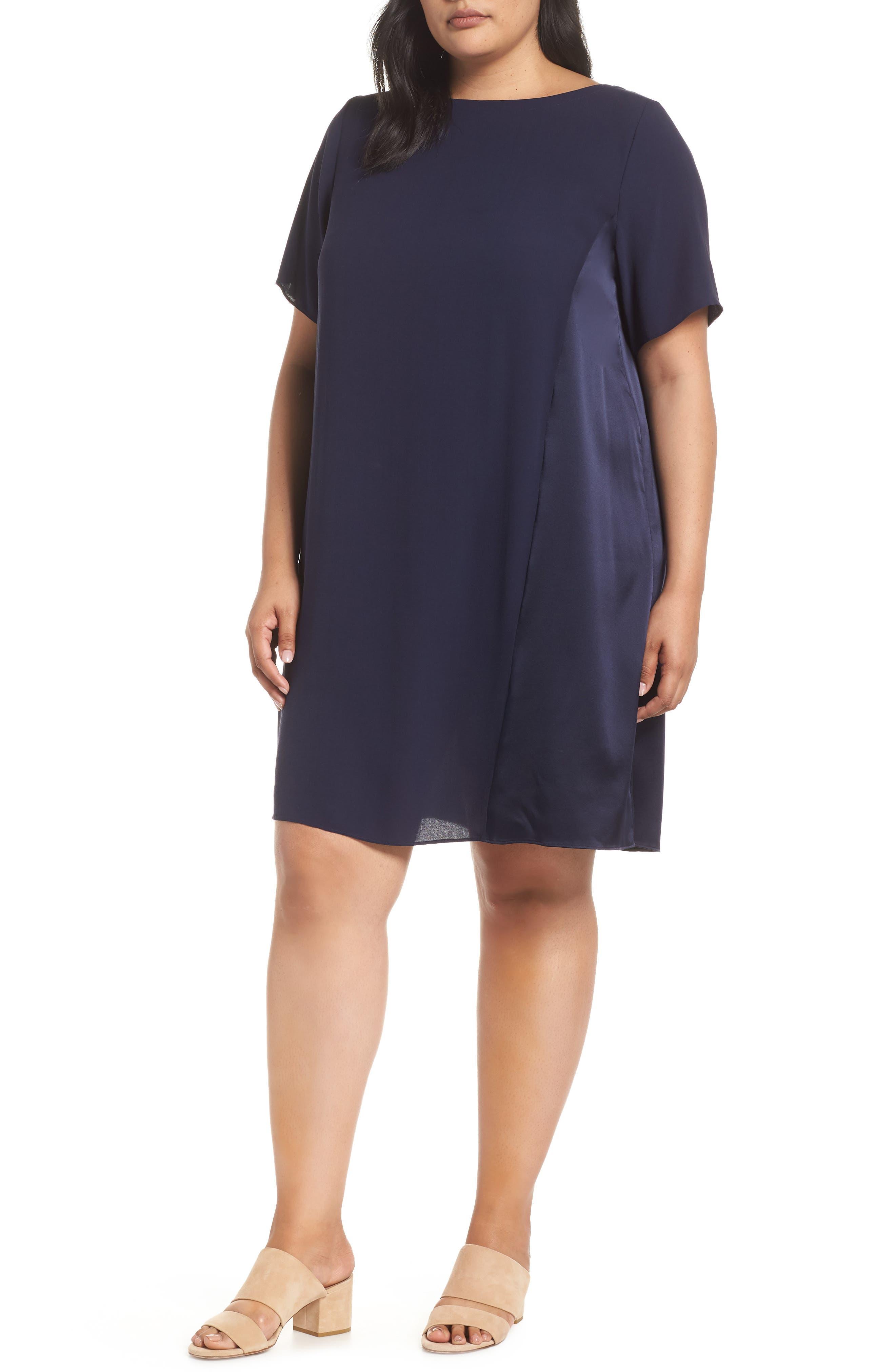 Plus Size Eileen Fisher Silk Shift Dress, Blue