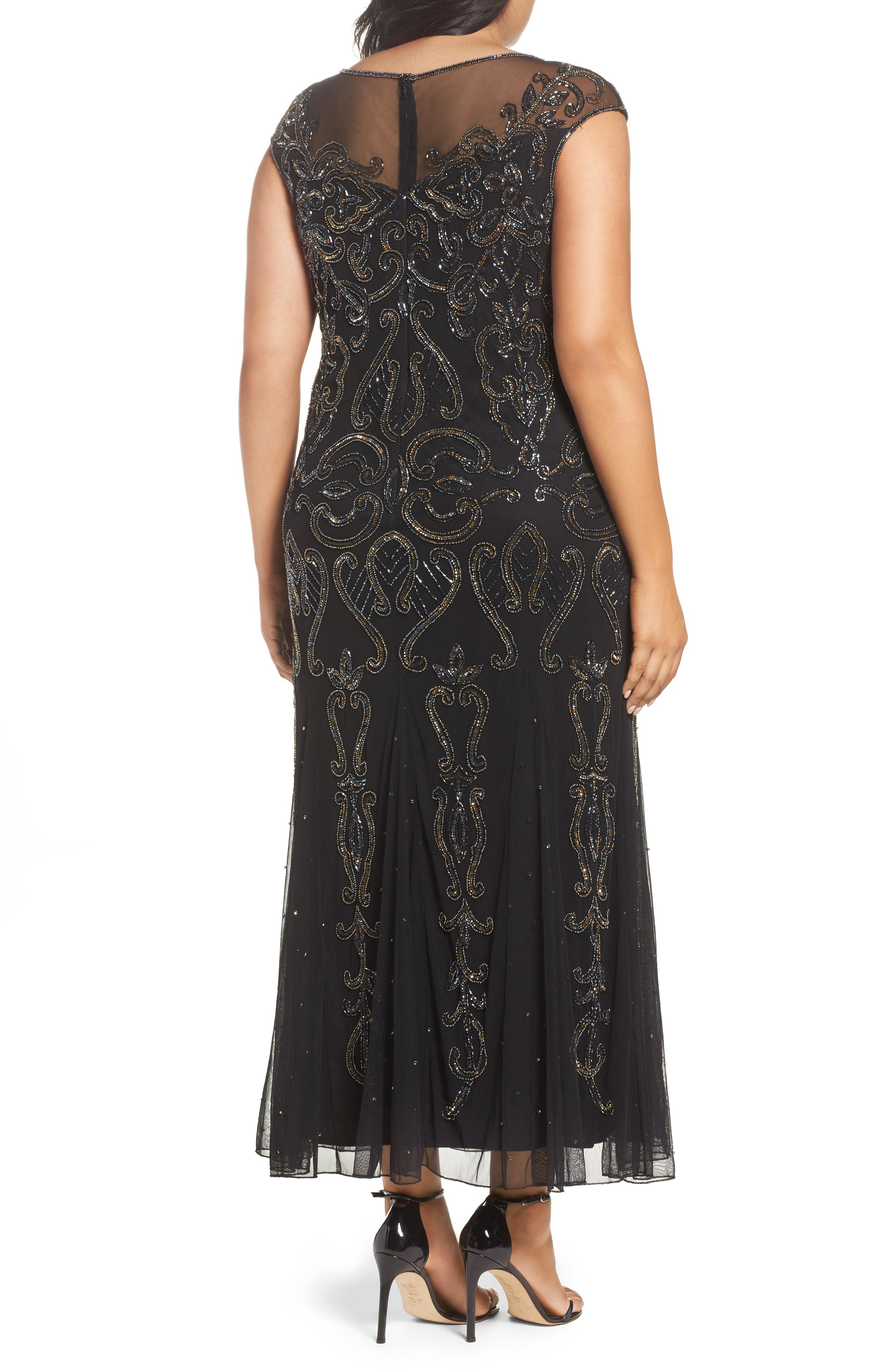Illusion Neck Beaded A-Line Gown,                             Alternate thumbnail 2, color,                             001