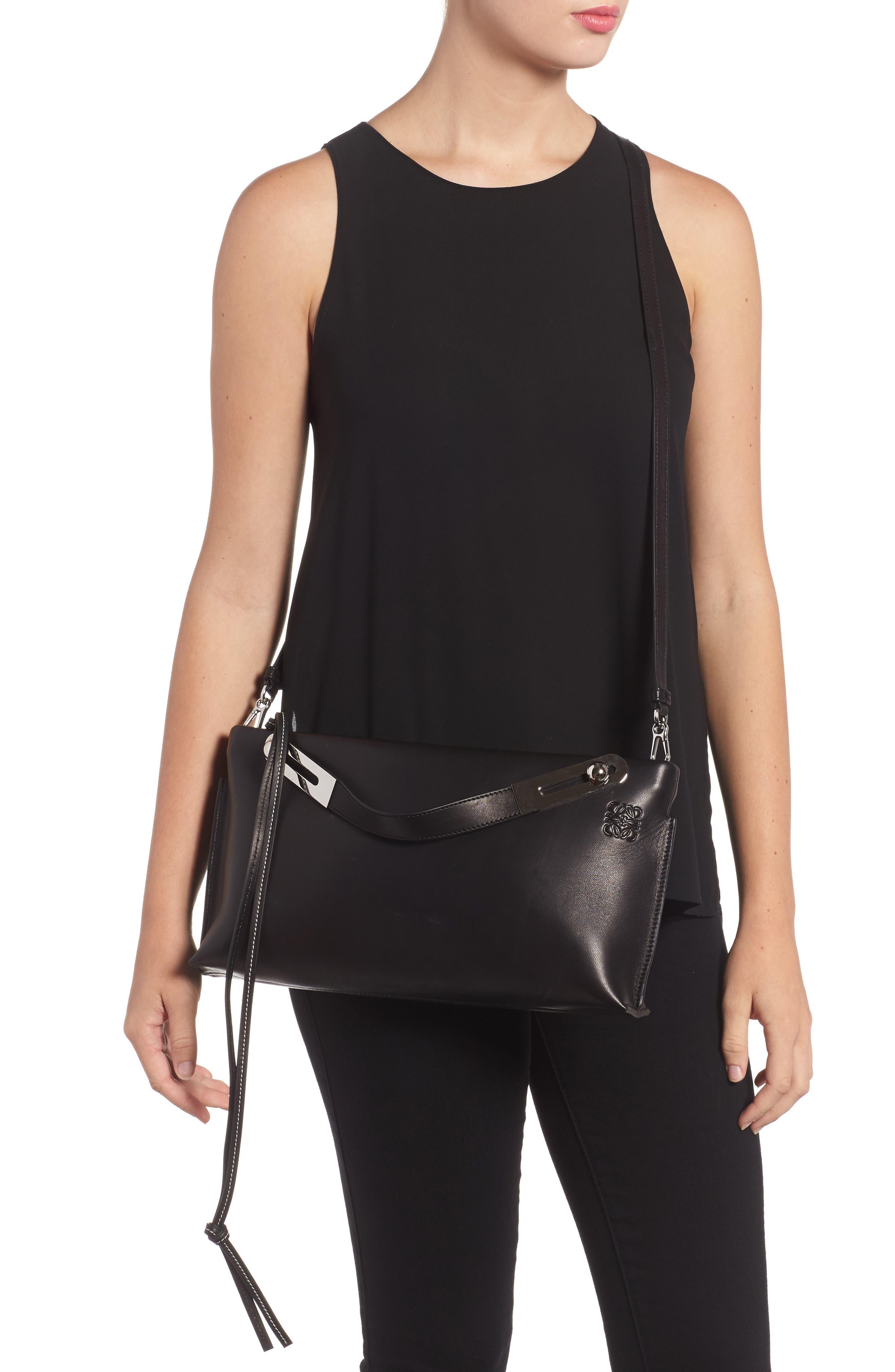 Missy Lambskin Leather Shoulder Bag,                             Alternate thumbnail 2, color,                             BLACK