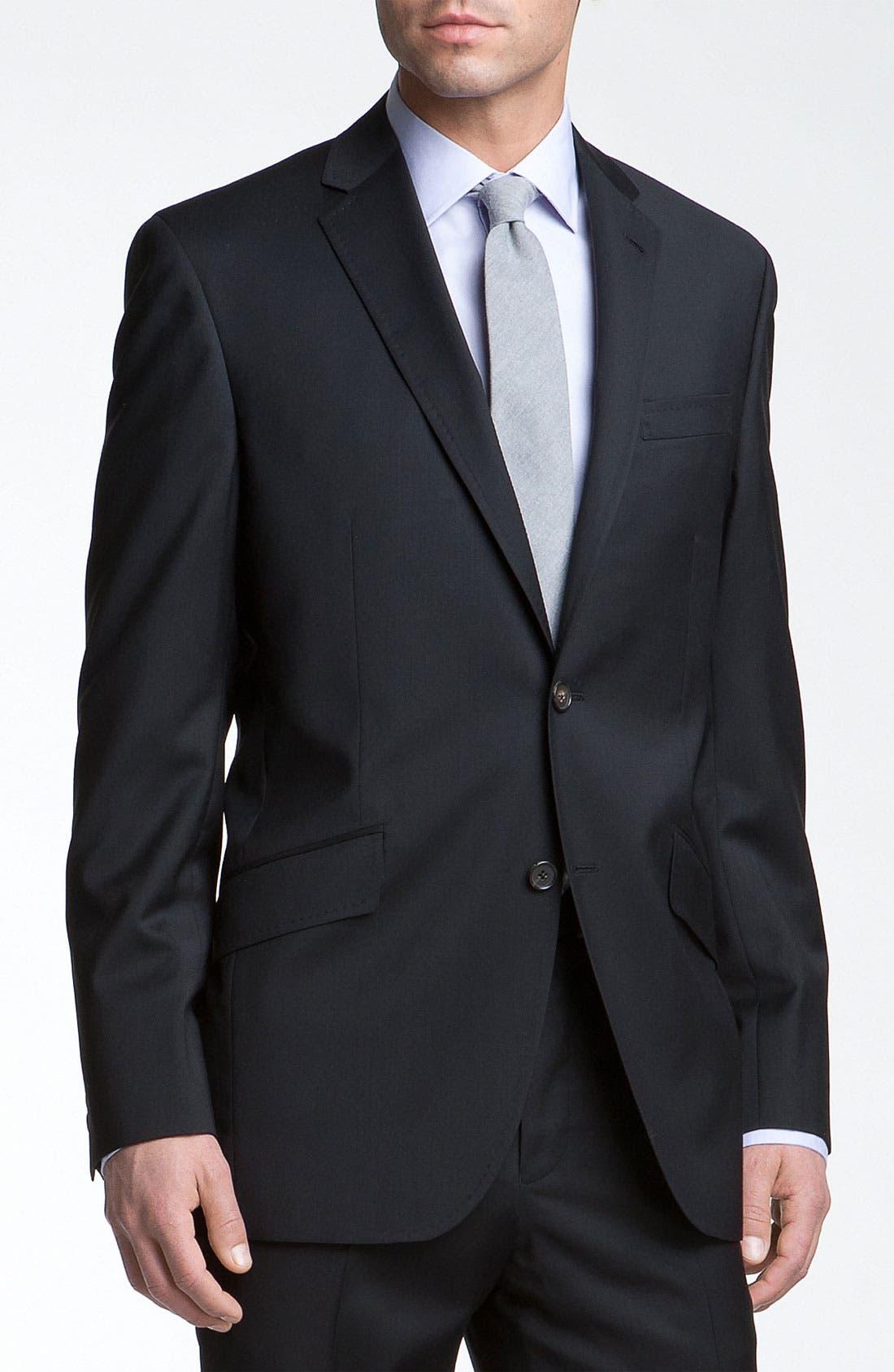 Jones Trim Fit Wool Suit,                             Alternate thumbnail 12, color,                             001